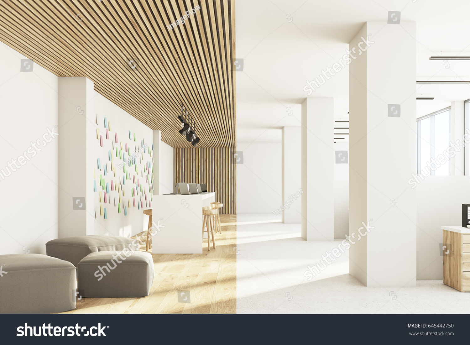Front View Open Office Interior Bar Stock Illustration 645442750 ...