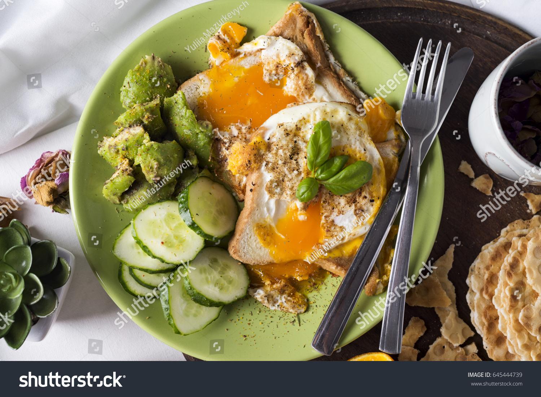 Concept Breakfast Bed Healthy Breakfast Flat Stock Photo Edit Now 645444739
