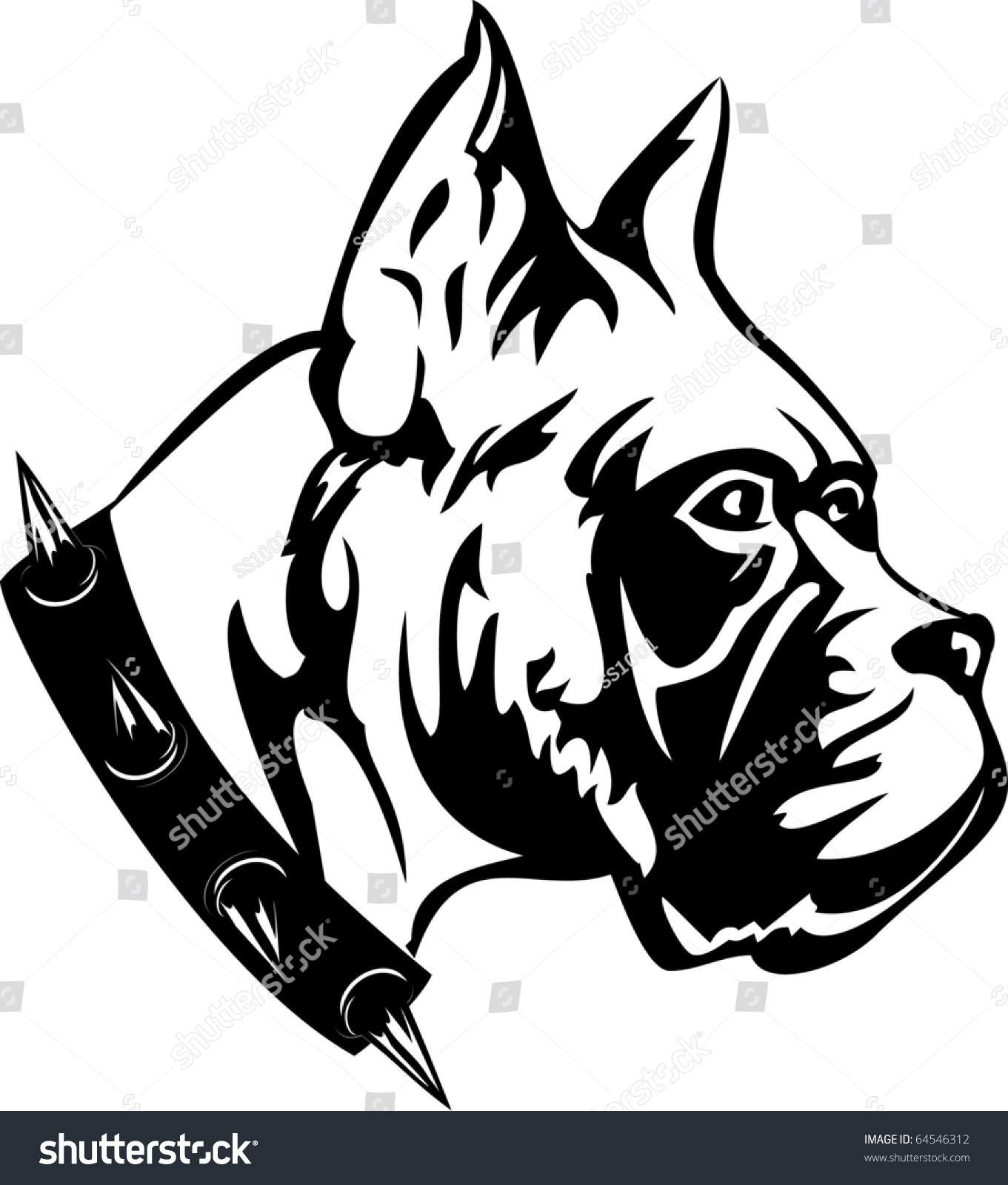 the vector black and white image of dog of breed boxer