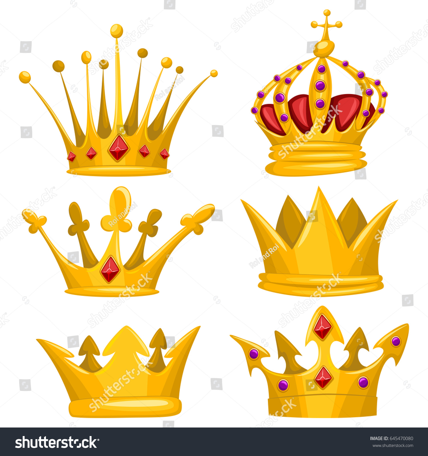 Gold Crown King Queen Princess Prince Stock Vector Royalty Free