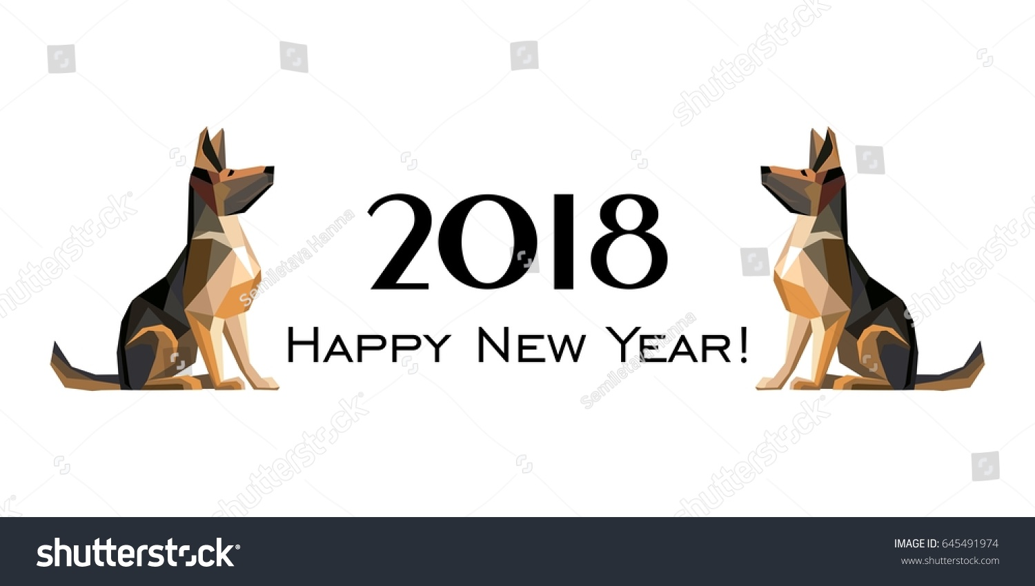 2018 happy new year greeting card stock vector royalty free 2018 happy new year greeting card celebration white background with dog german shepherd and place m4hsunfo