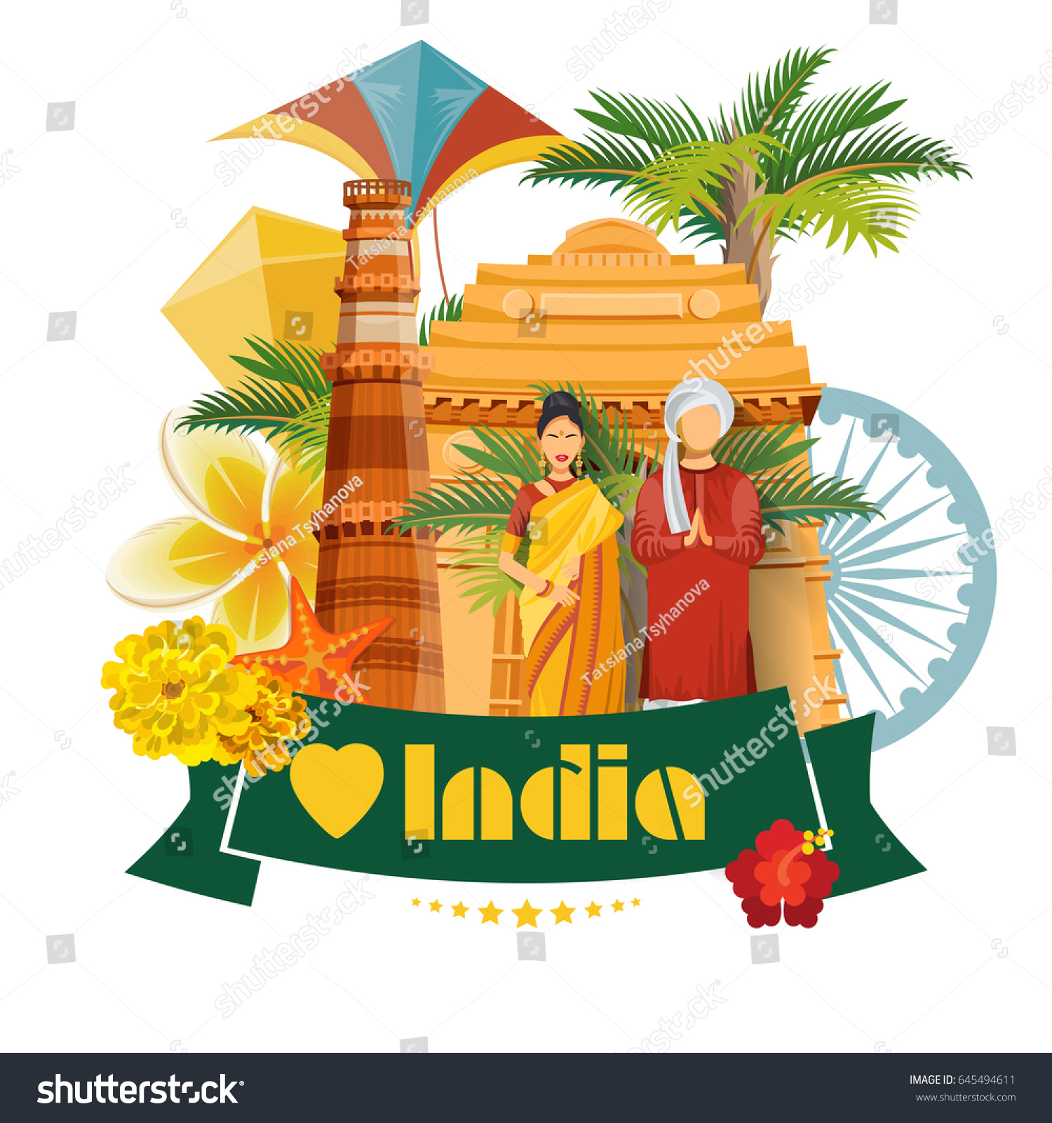 India vector illustration indian colorful concept stock vector india vector illustration indian colorful concept poster with traditional indian items greeting card m4hsunfo