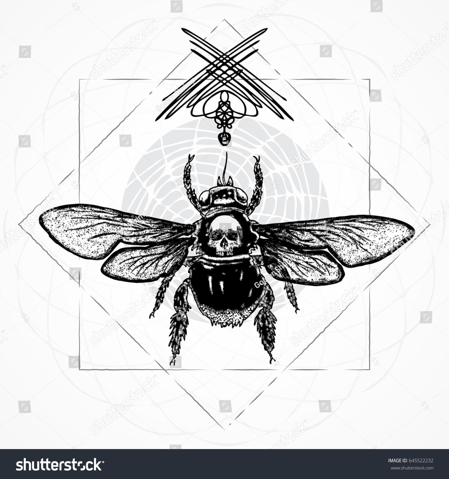 Bee Body Tattoo Style On Sacred Stock Illustration 645522232 ...