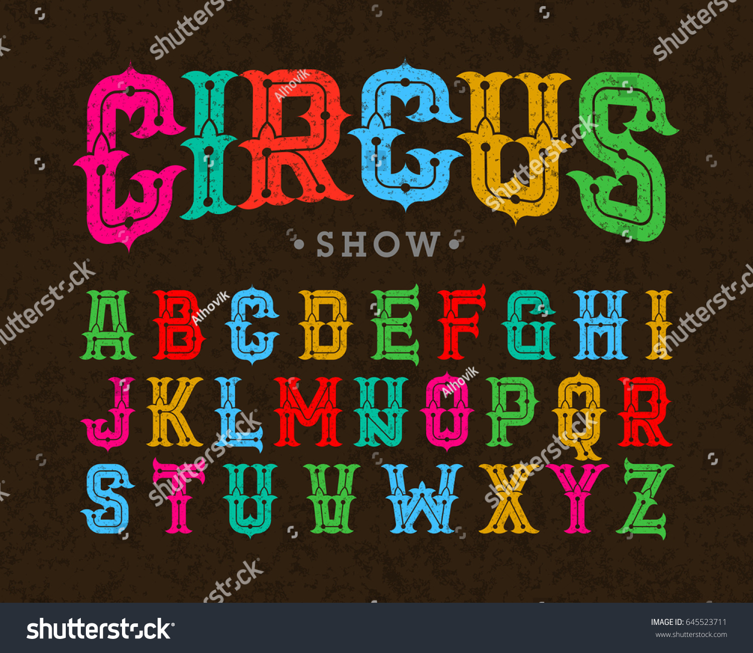 circus style vintage font vector illustration stock vector