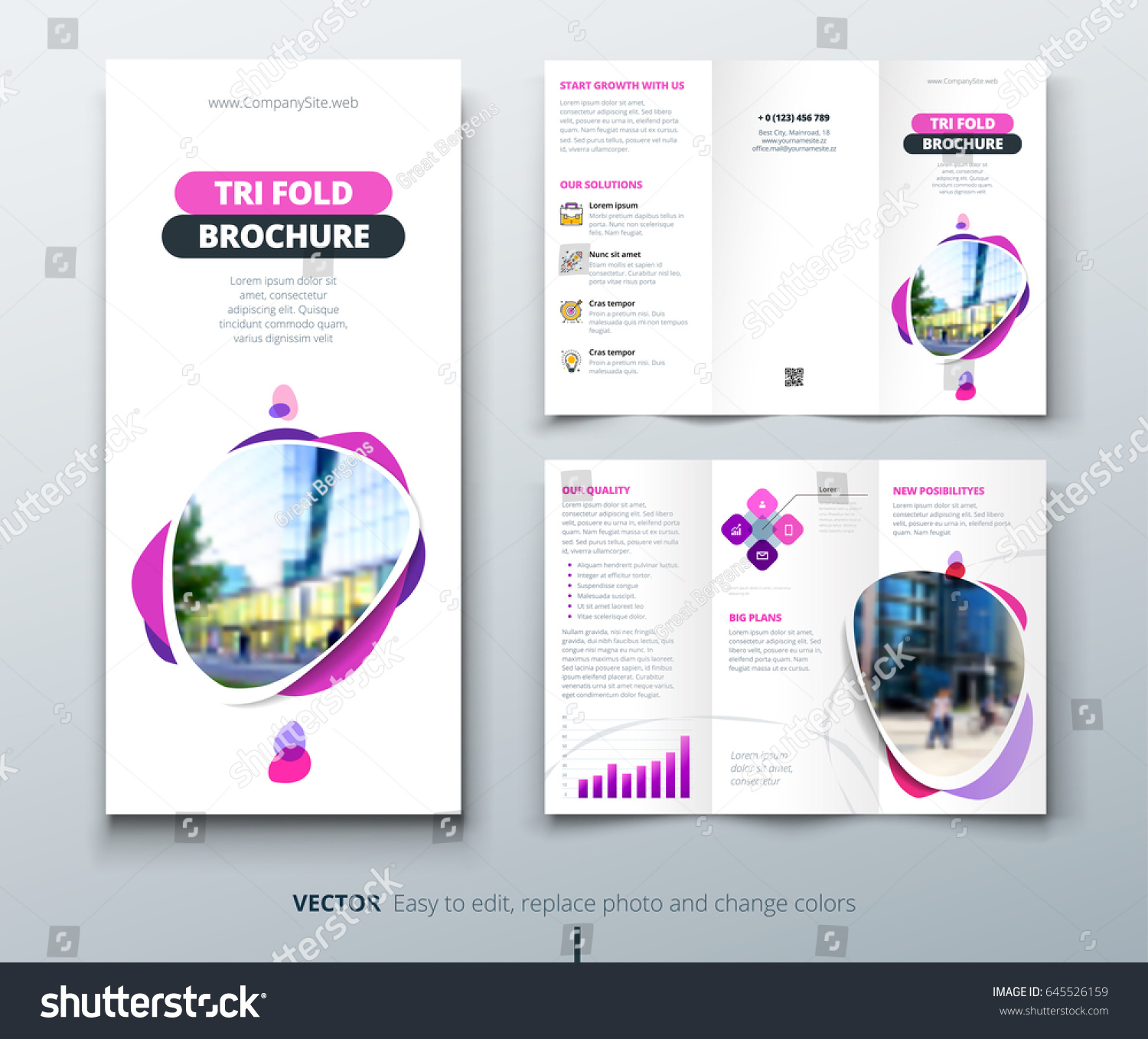 business tri fold brochure design pink stock vector royalty free