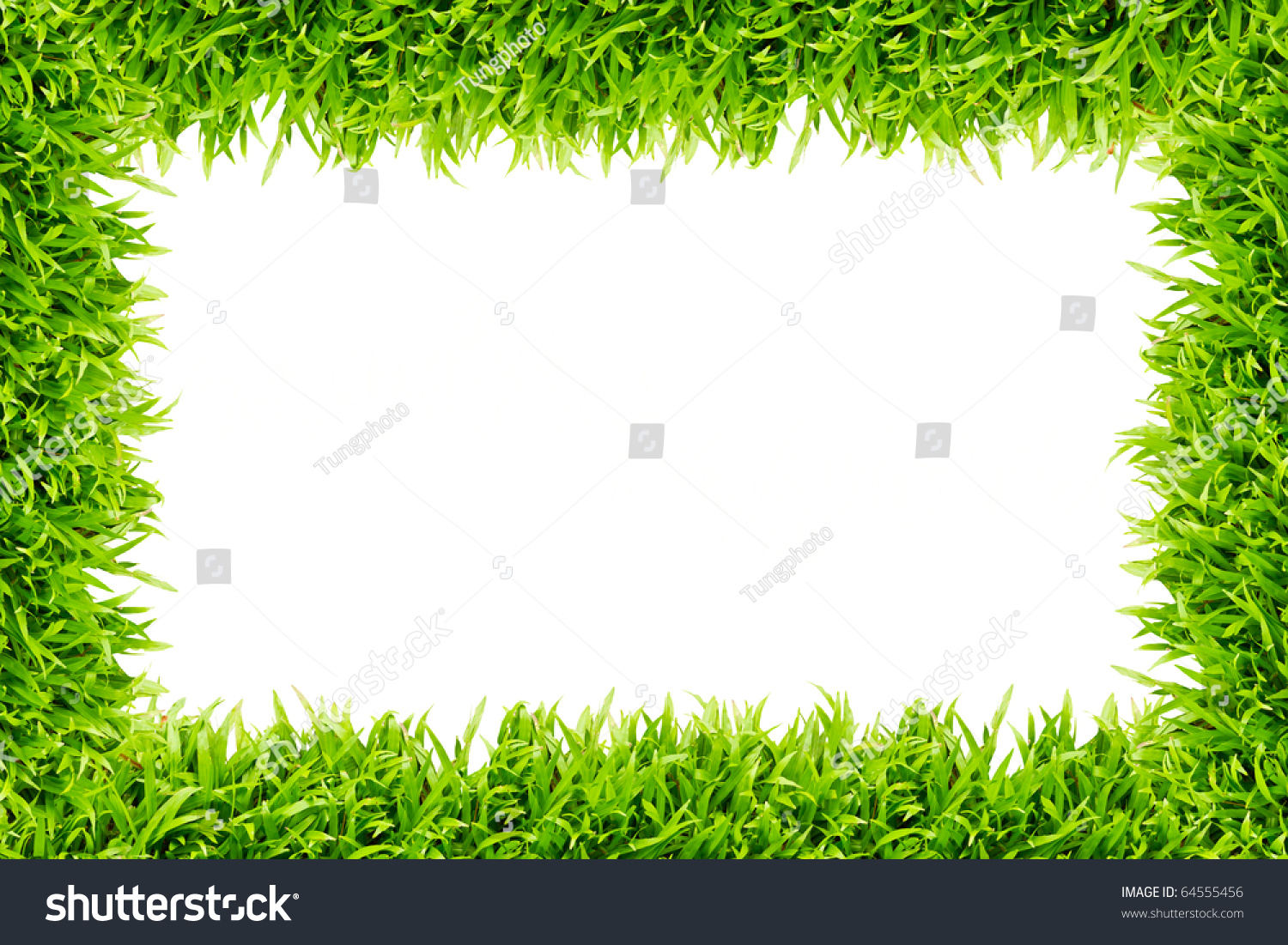 Grass Frame On White Background - You Can Add Any Word ...
