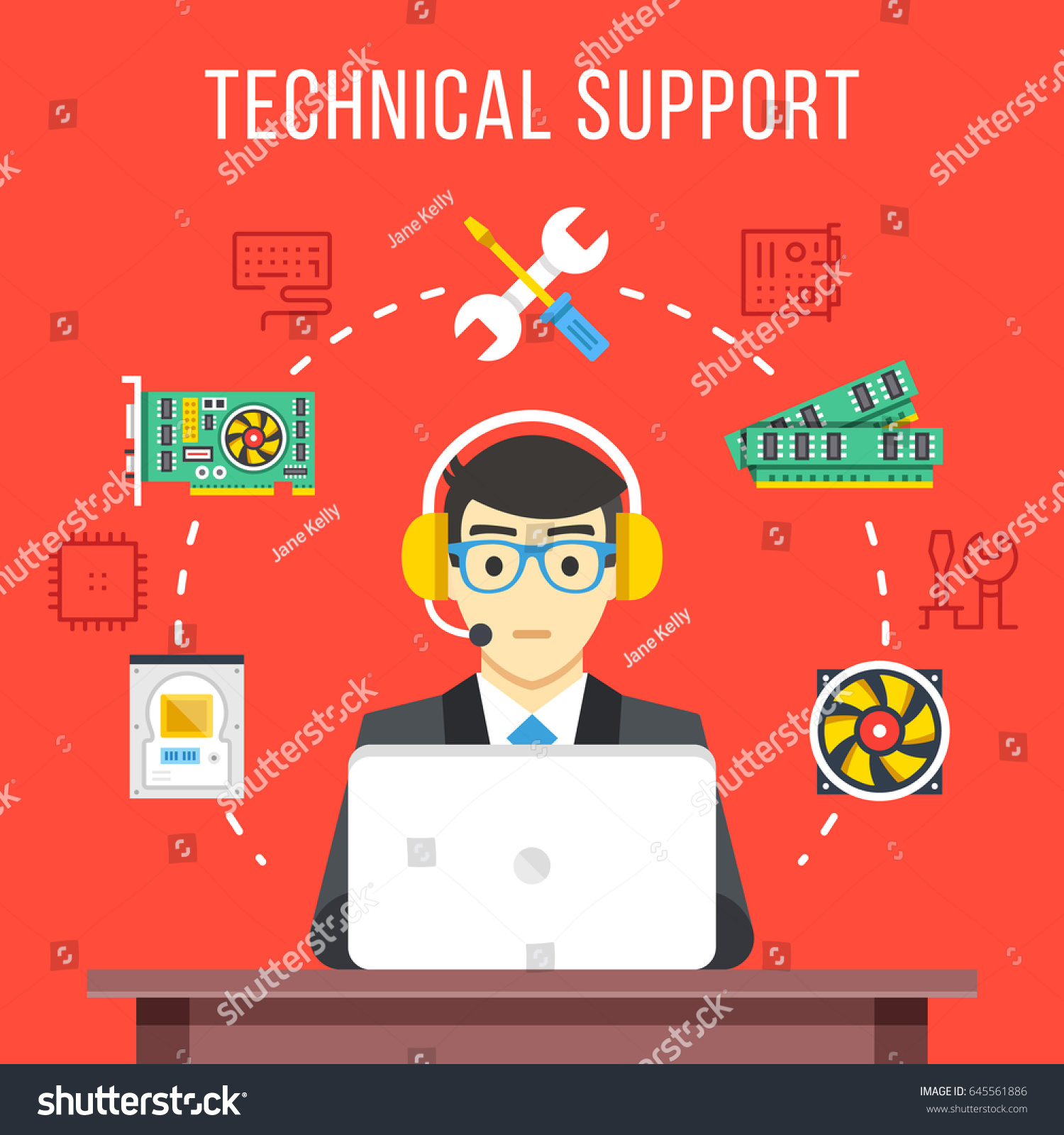 Technical support technical support engineer headset stock vector technical support technical support engineer with headset at computer at work flat icons sciox Image collections