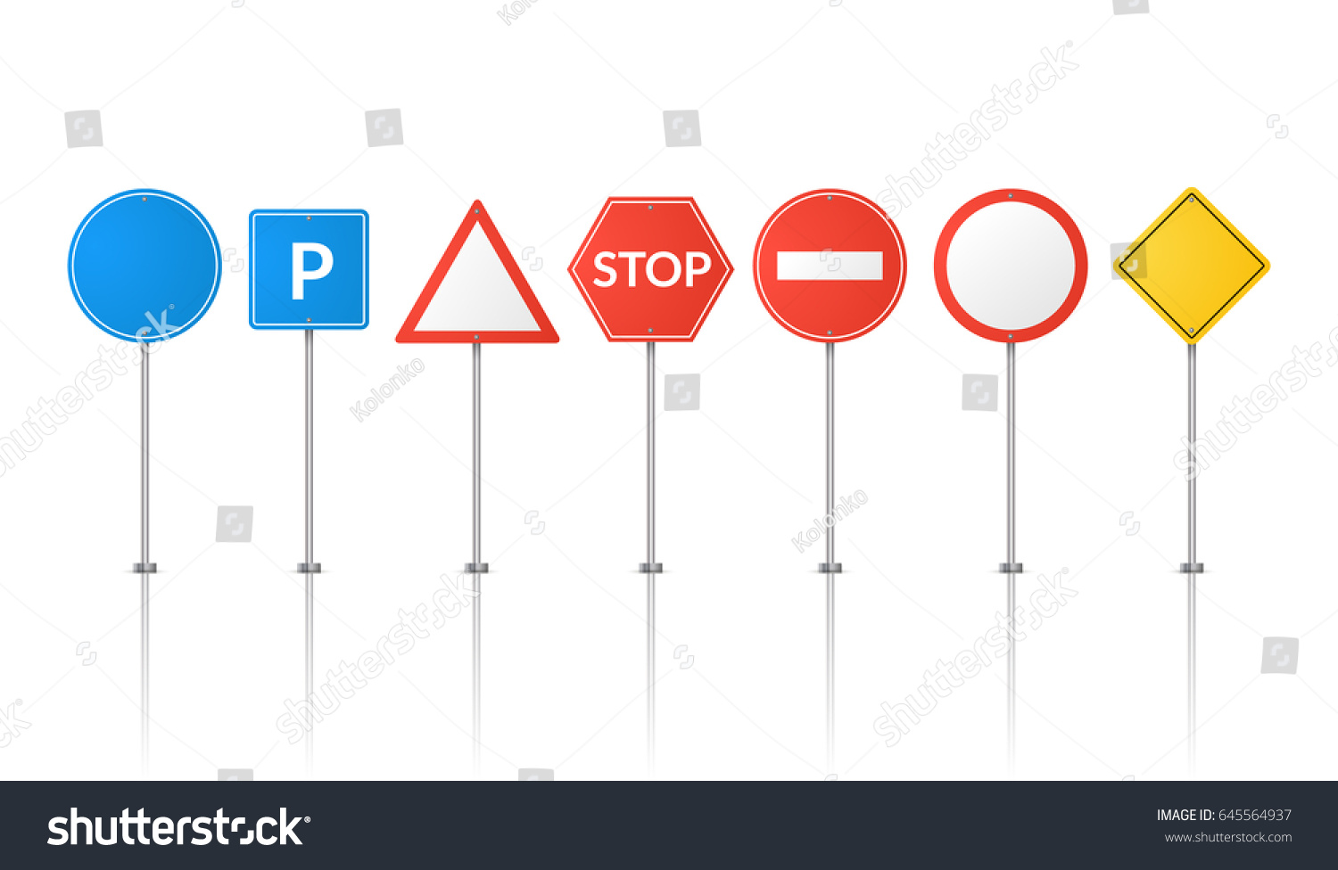 Road Signs Isolated Vector Street Signs Stock Vector Royalty Free