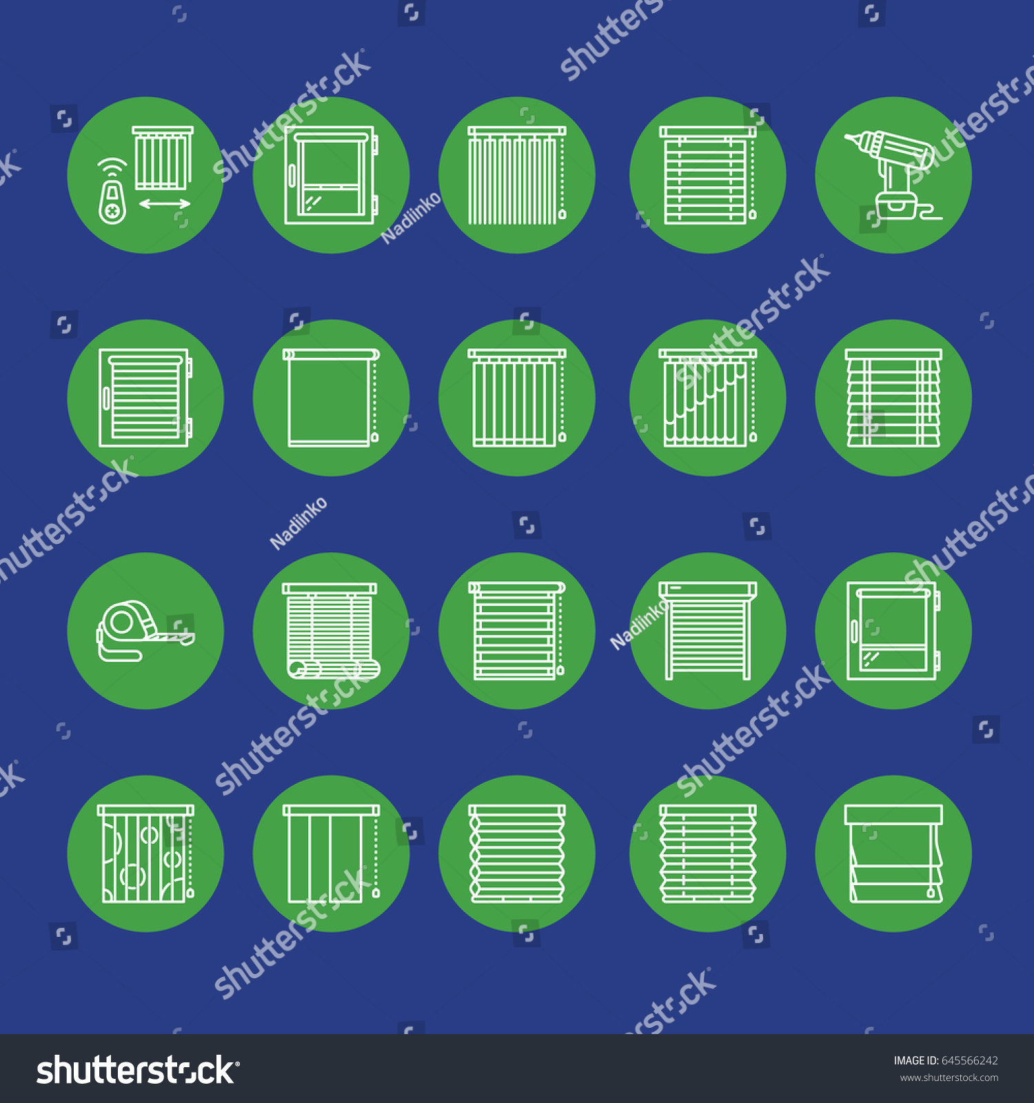 Window Blinds Shades Line Icons Various Stock Vector