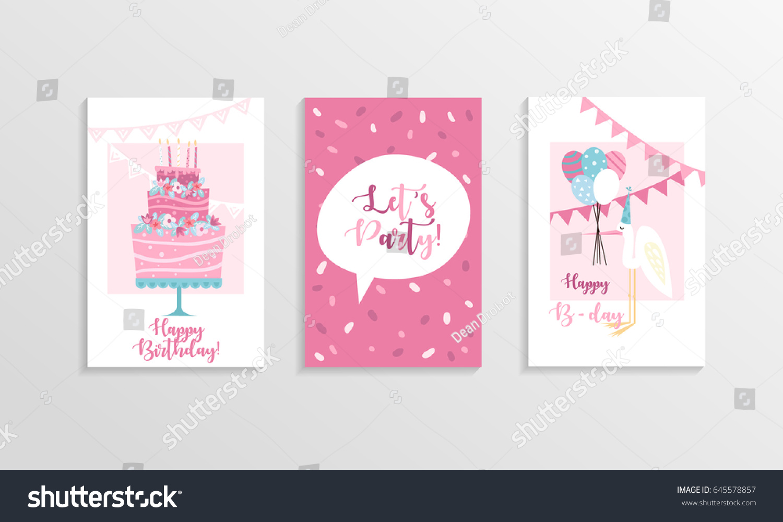 Set Happy Birthday Greeting Cards Vector Stock Vector 2018