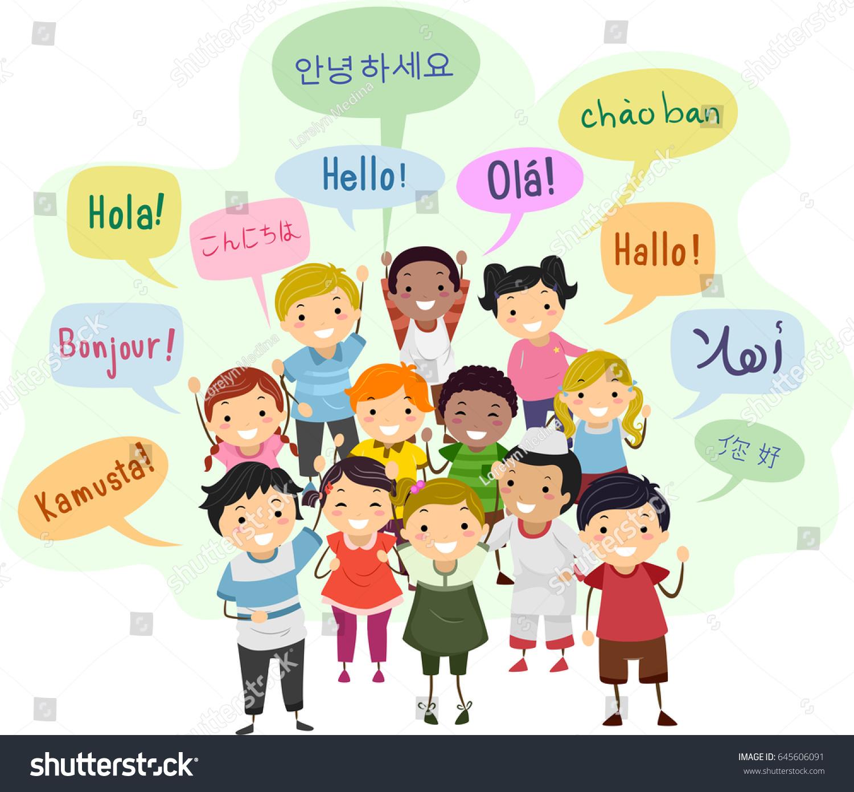 Illustration Stickman Kids Speech Bubbles Saying Stock Vector