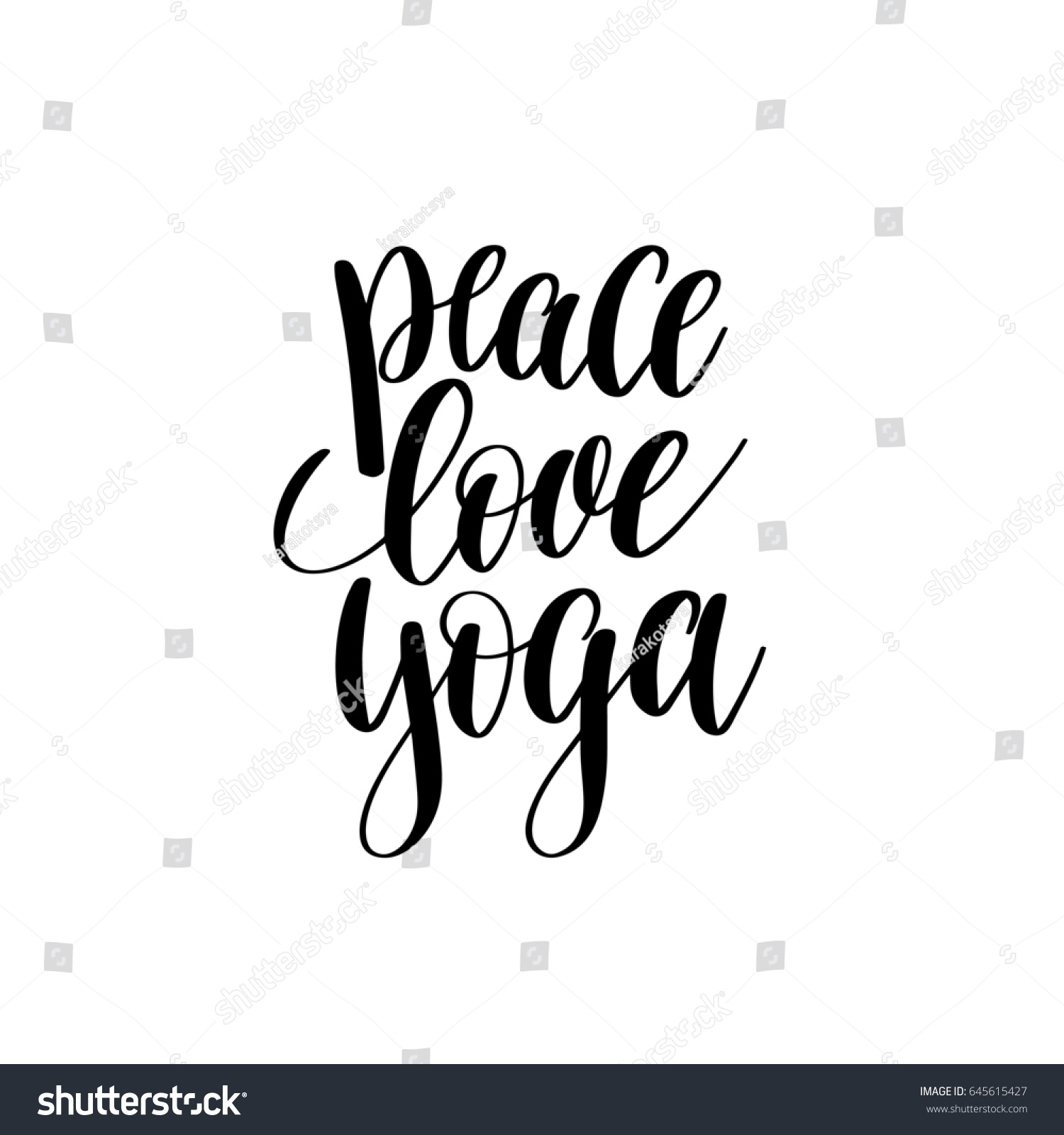 Quote About Peace And Love Peace Love Yoga Black White Hand Stock Illustration 645615427