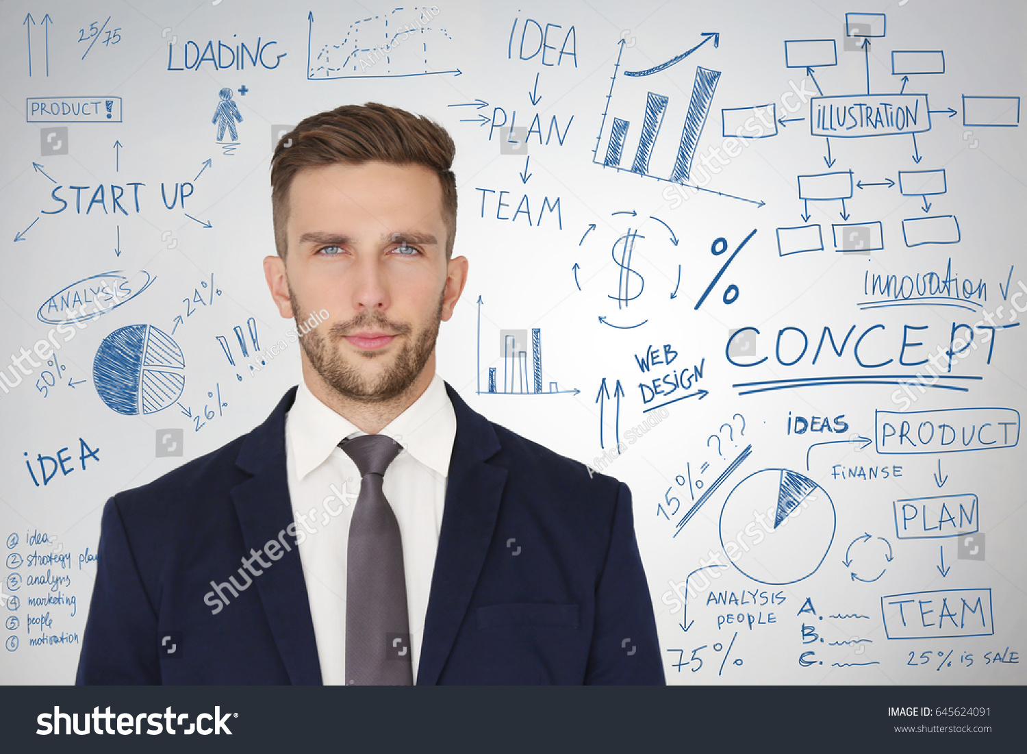 man presenting business plan on light background