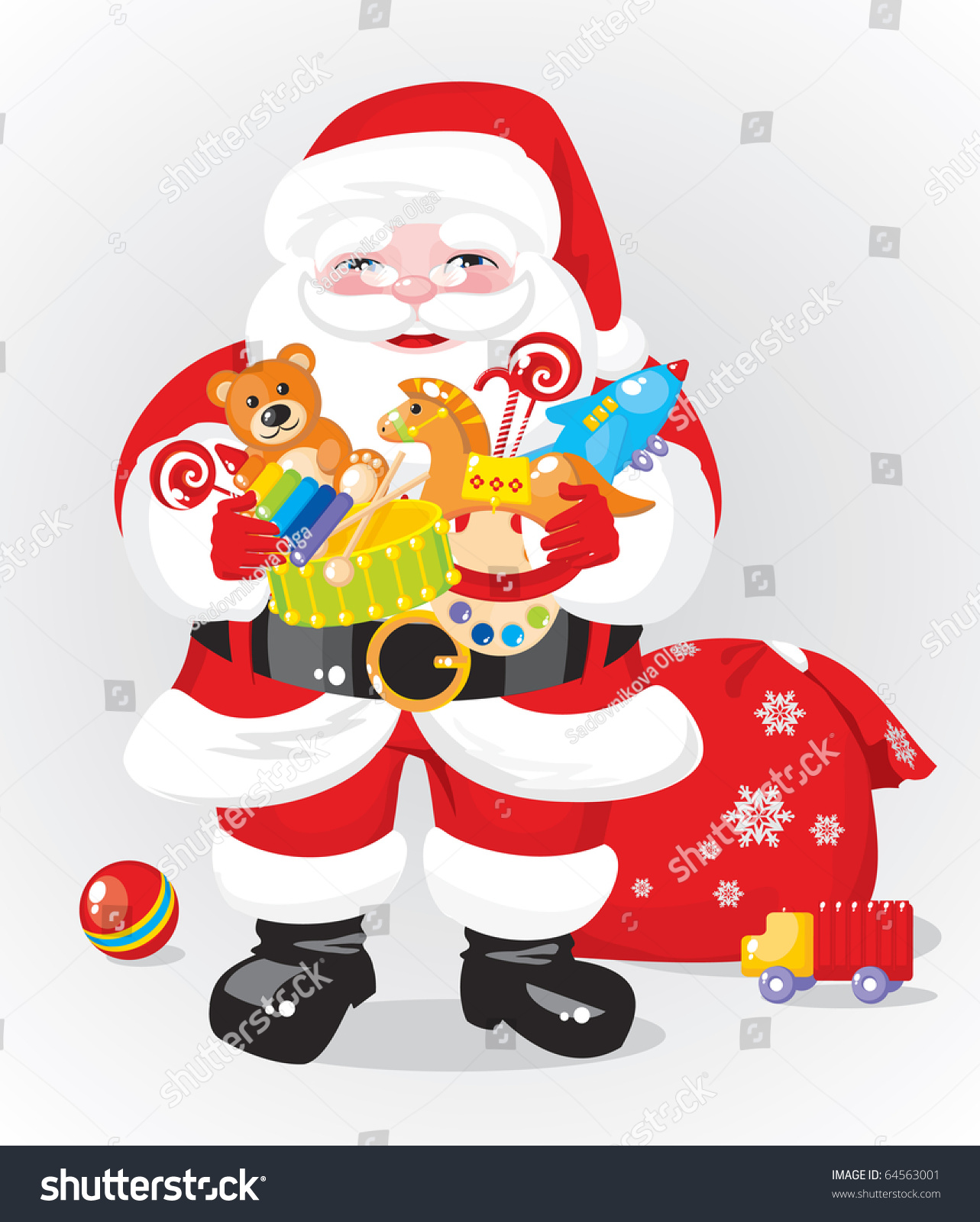 Santa claus with gifts toys stock vector illustration