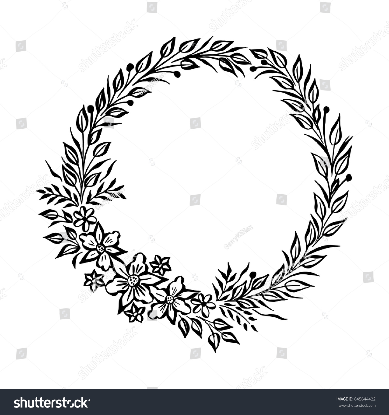 Round frame with decorative branch vector illustration stock - Vector Fine Floral Round Frame Decorative Element For Invitations And Cards Border Element