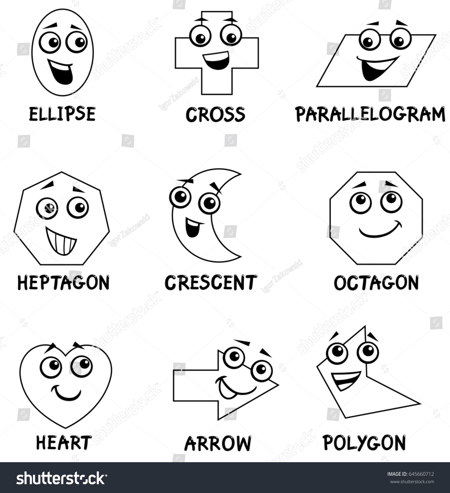 Black And White Cartoon Illustration Of Basic Geometric Shapes Funny Characters For Kids Coloring Book