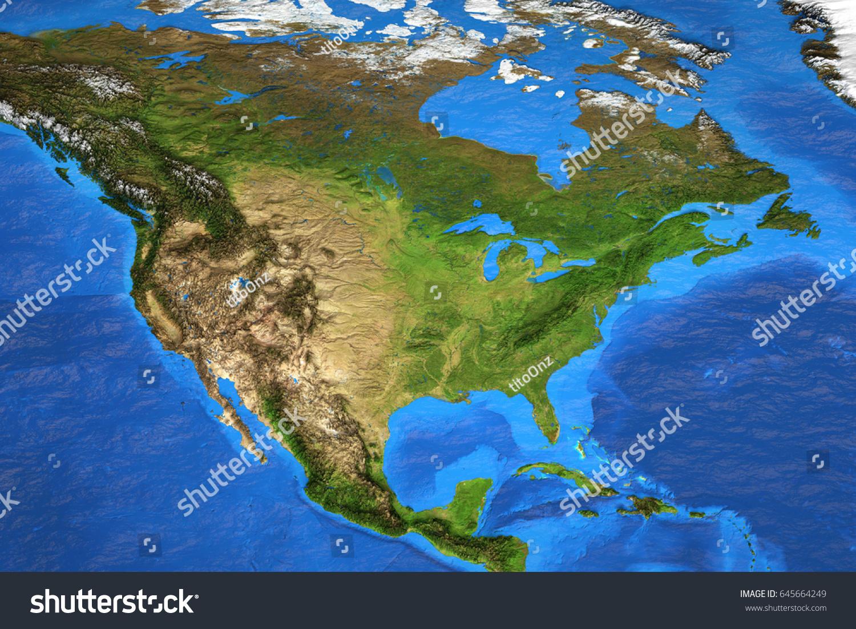 Detailed Satellite View Earth Landforms Summer Stock Illustration