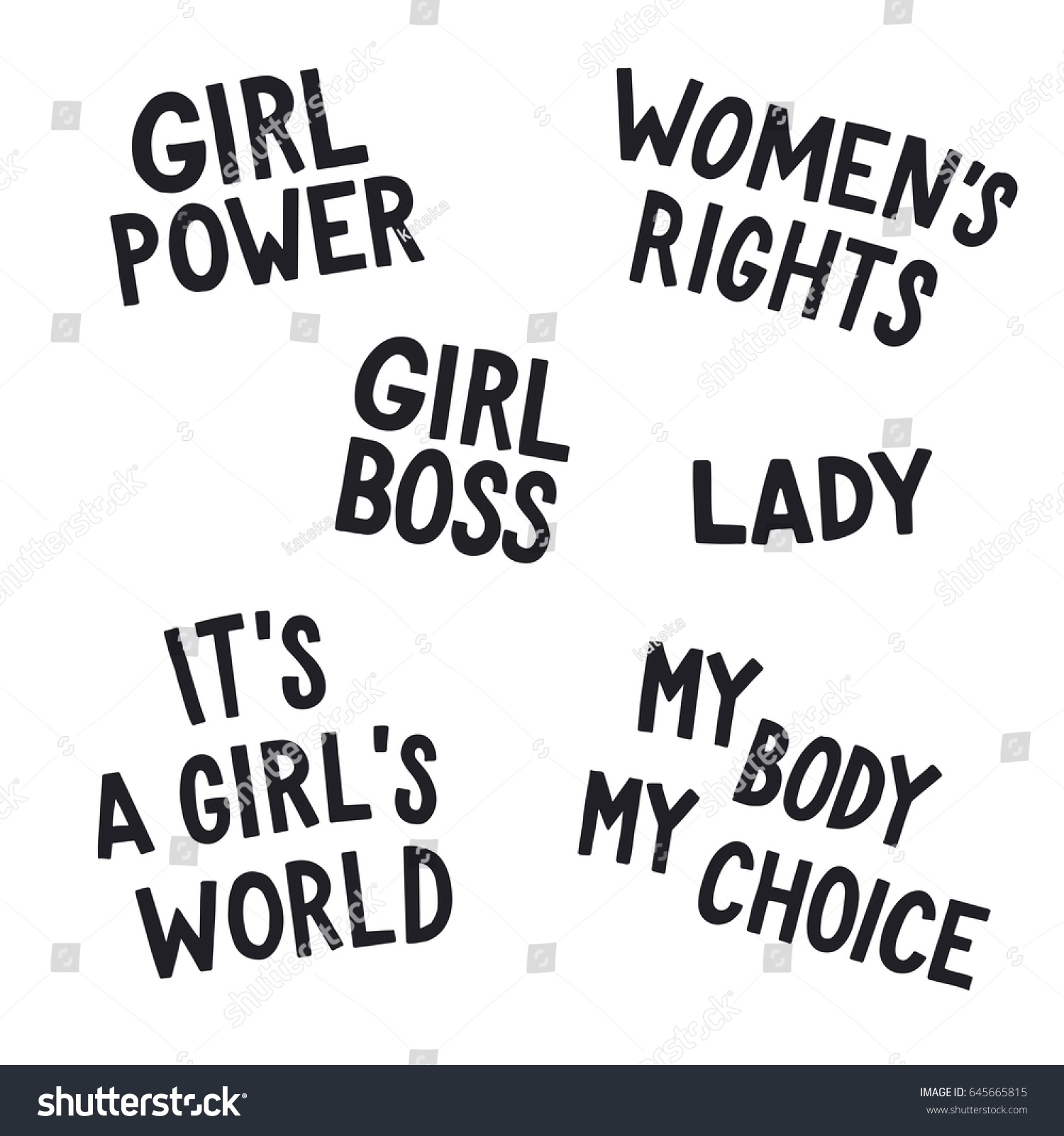 Girl Power Quotes Feminist Quotes Set Girl Power Womens Stock Vector 645665815