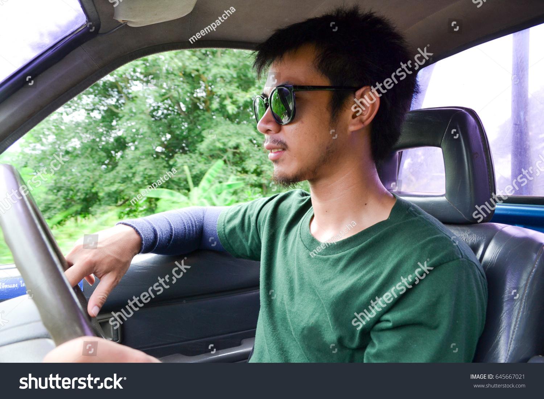 19e930273a29 Asian Men Mustache Bearded Wearing Green Stock Photo (Edit Now ...
