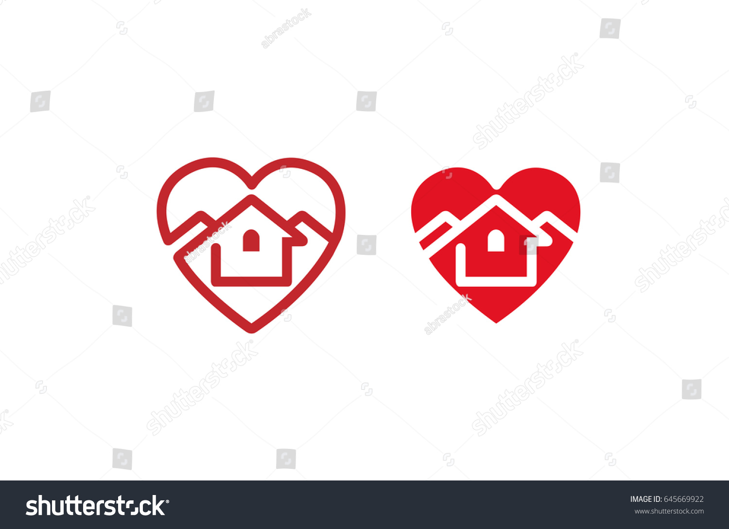 House design logo - Creative Heart House Design Logo Illustration