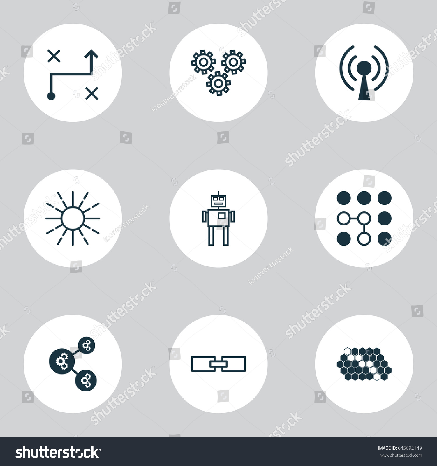 Robotics Icons Set Collection Algorithm Illustration Stock Vector