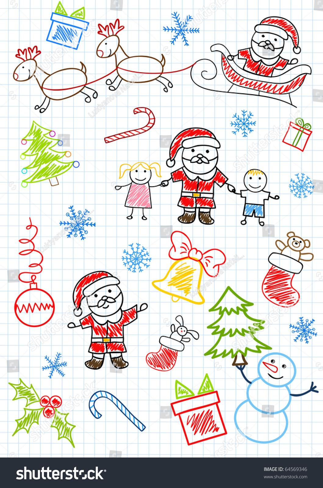 vector drawings santa claus children sketch stock vector 64569346
