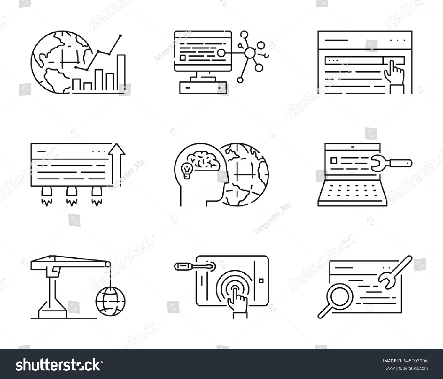 Set linear icons search engine optimization stock vector 645703906 set of linear icons for search engine optimization vector linear symbol for seo open buycottarizona Images