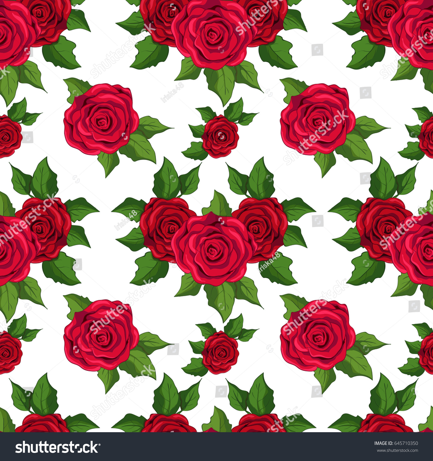 Seamless Floral Pattern Wallpaper Red Roses 645710350