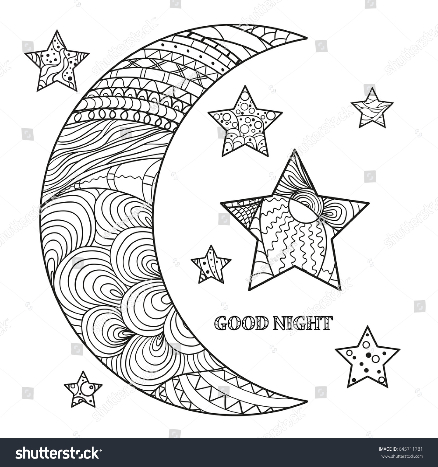 zentangle moon star abstract patterns on stock vector 645711781