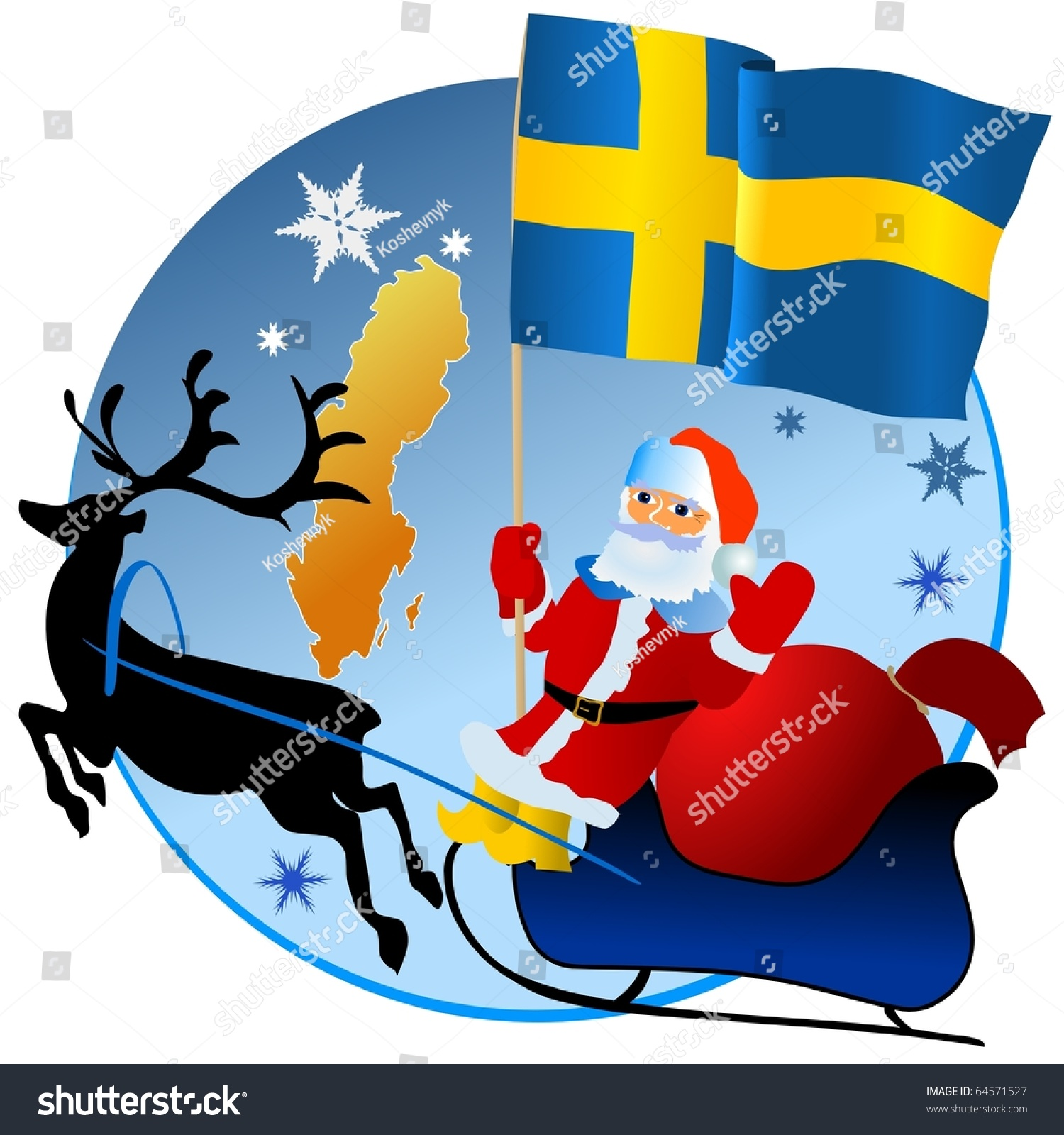 Merry Christmas Sweden Stock Vector Royalty Free 64571527