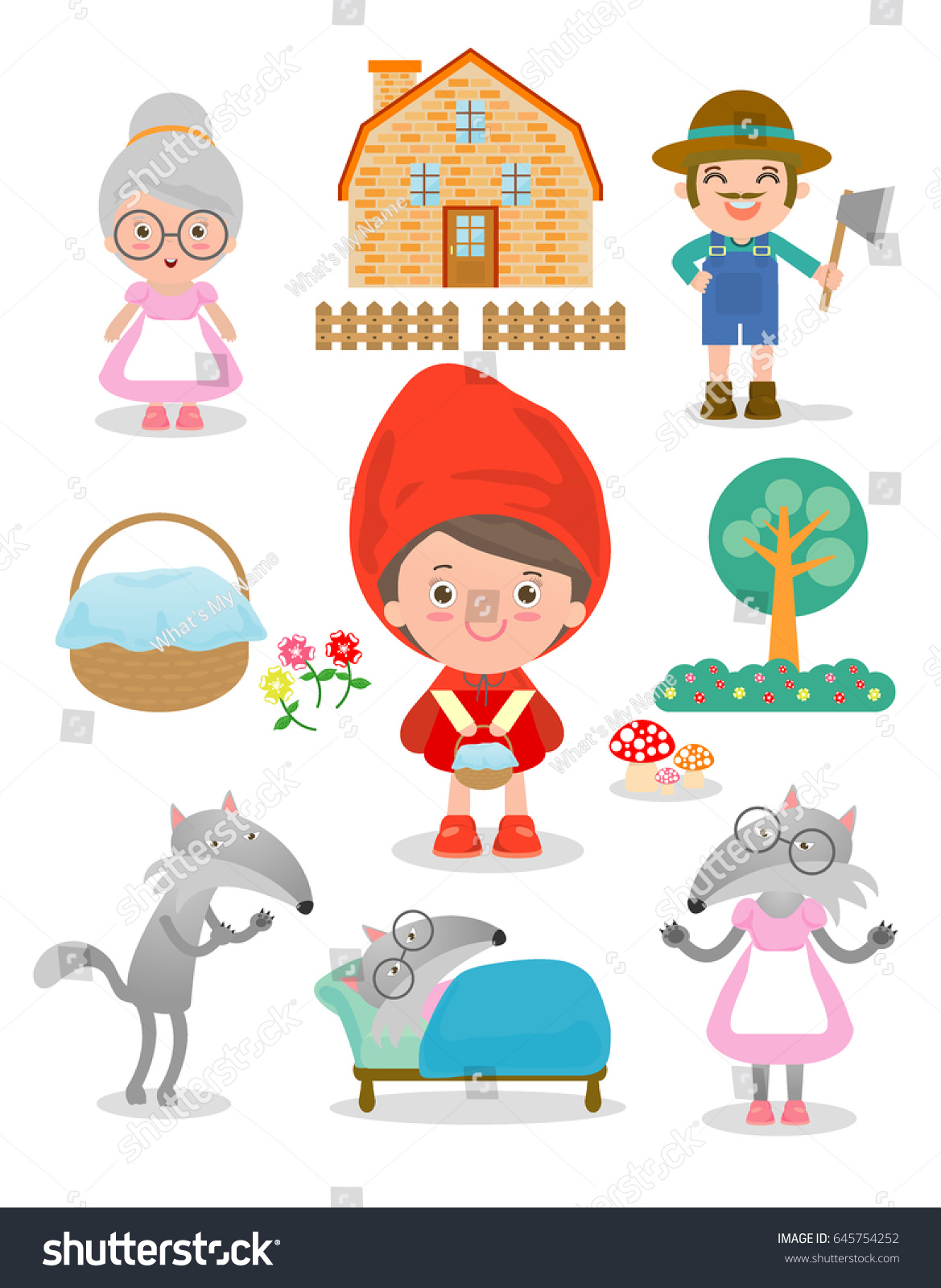 Set characters little red riding hood stock vector 645754252 set of characters from little red riding hood fairy tale on white background vector illustration buycottarizona