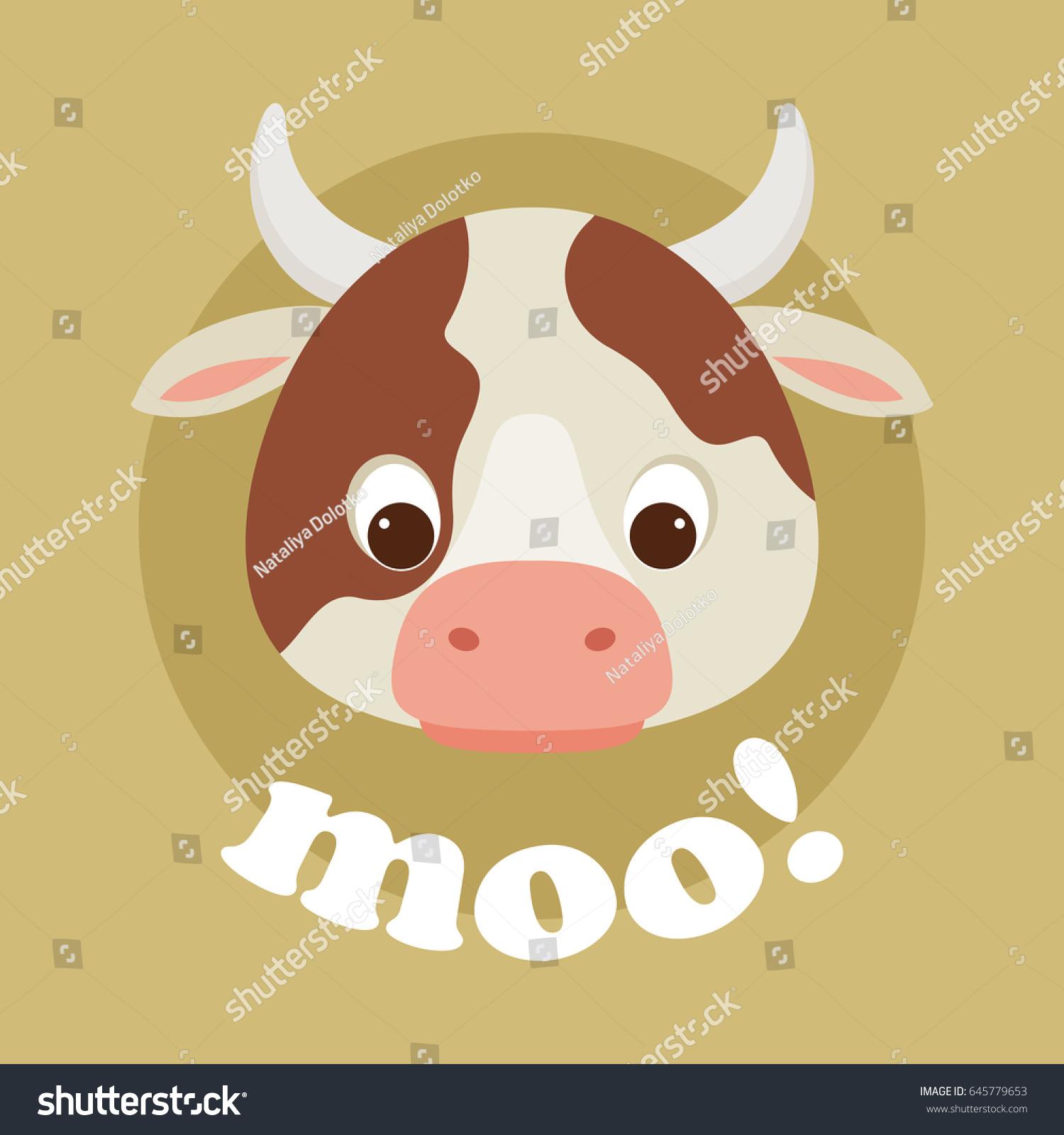 adorable cartoon cow head lettering moo stock vector