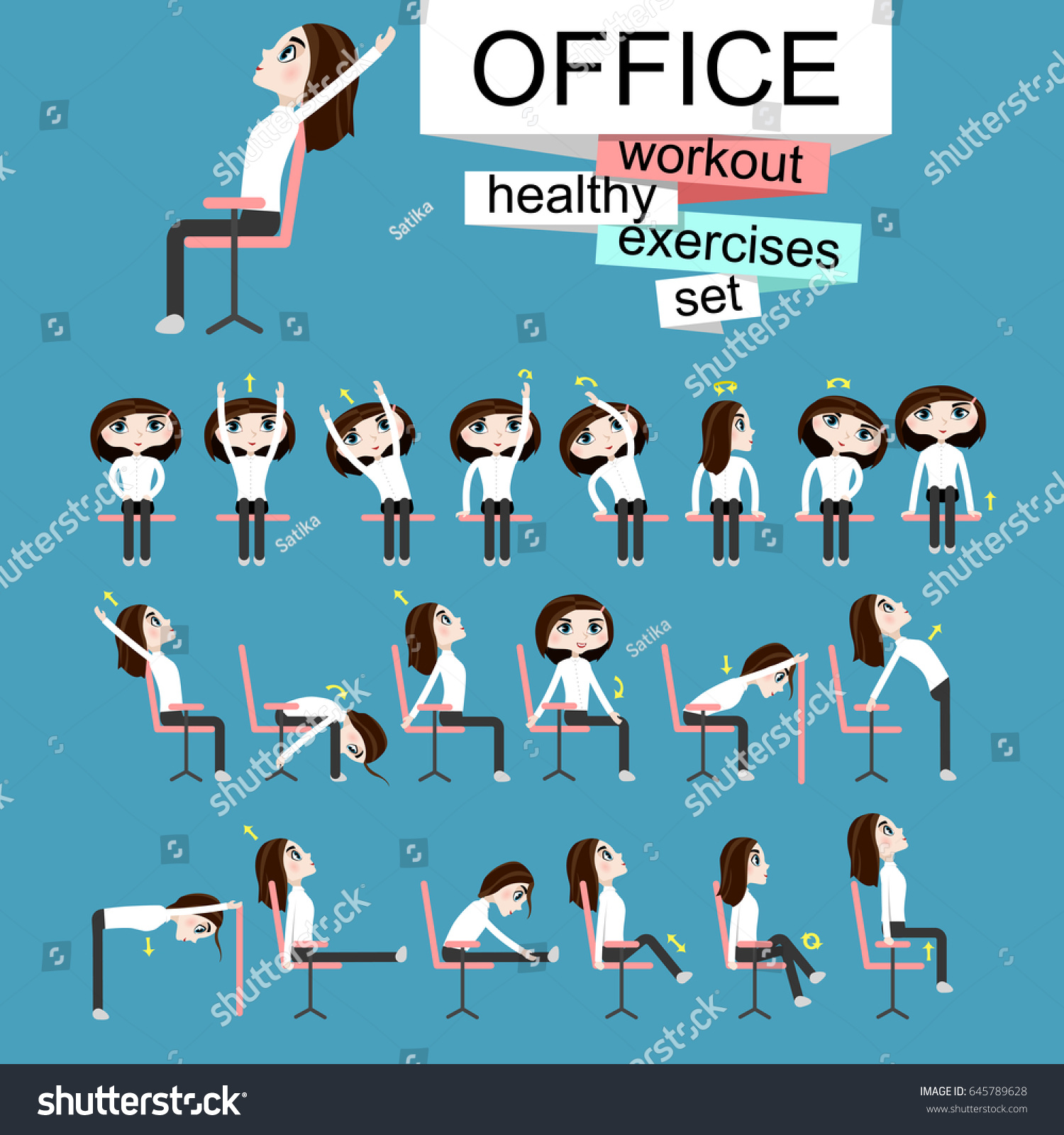 Pretty Girl Doing Exercises fice Stock Vector