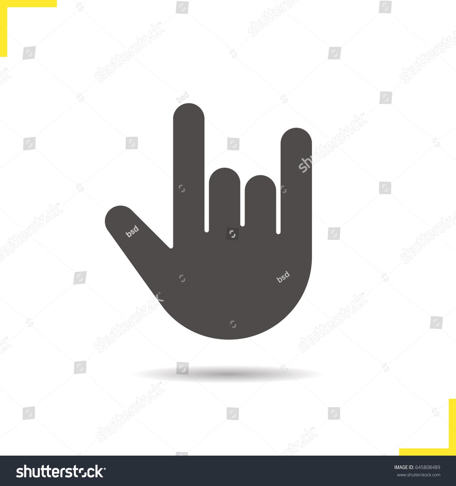 Heavy Metal Gesture Glyph Icon Drop Stock Vector Royalty Free