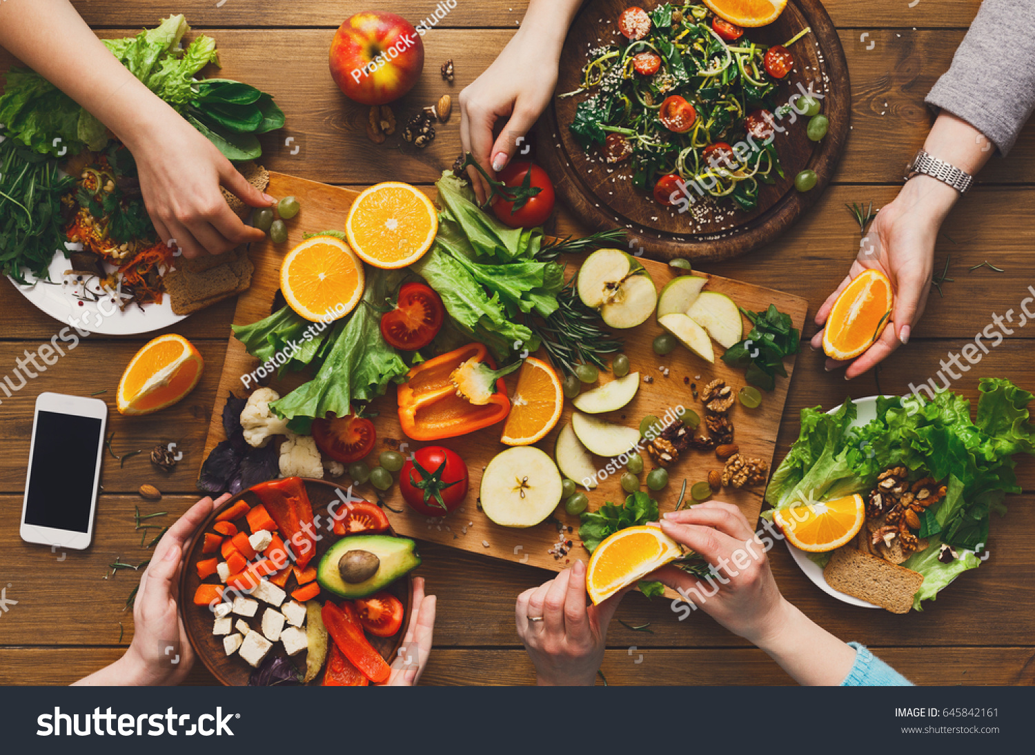Healthy Food Dinner Table Women At Home Together Eating Fruits And Vegetables Top