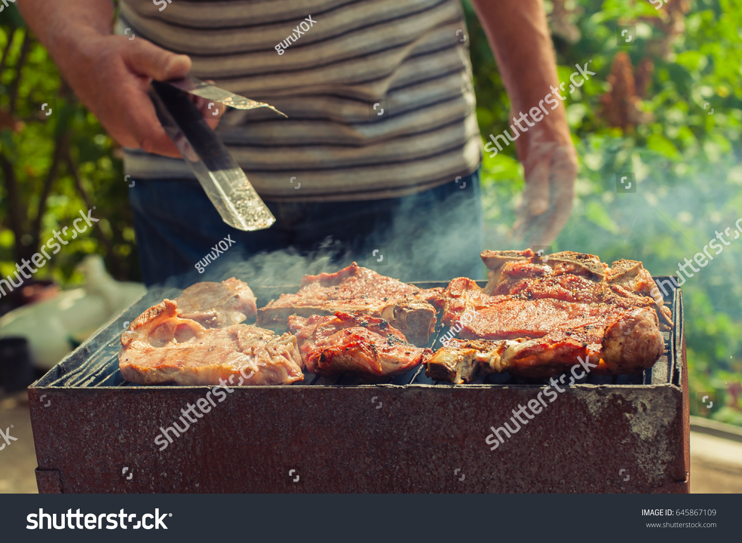 bbq closeup homemade barbecue grilling picnic stock photo
