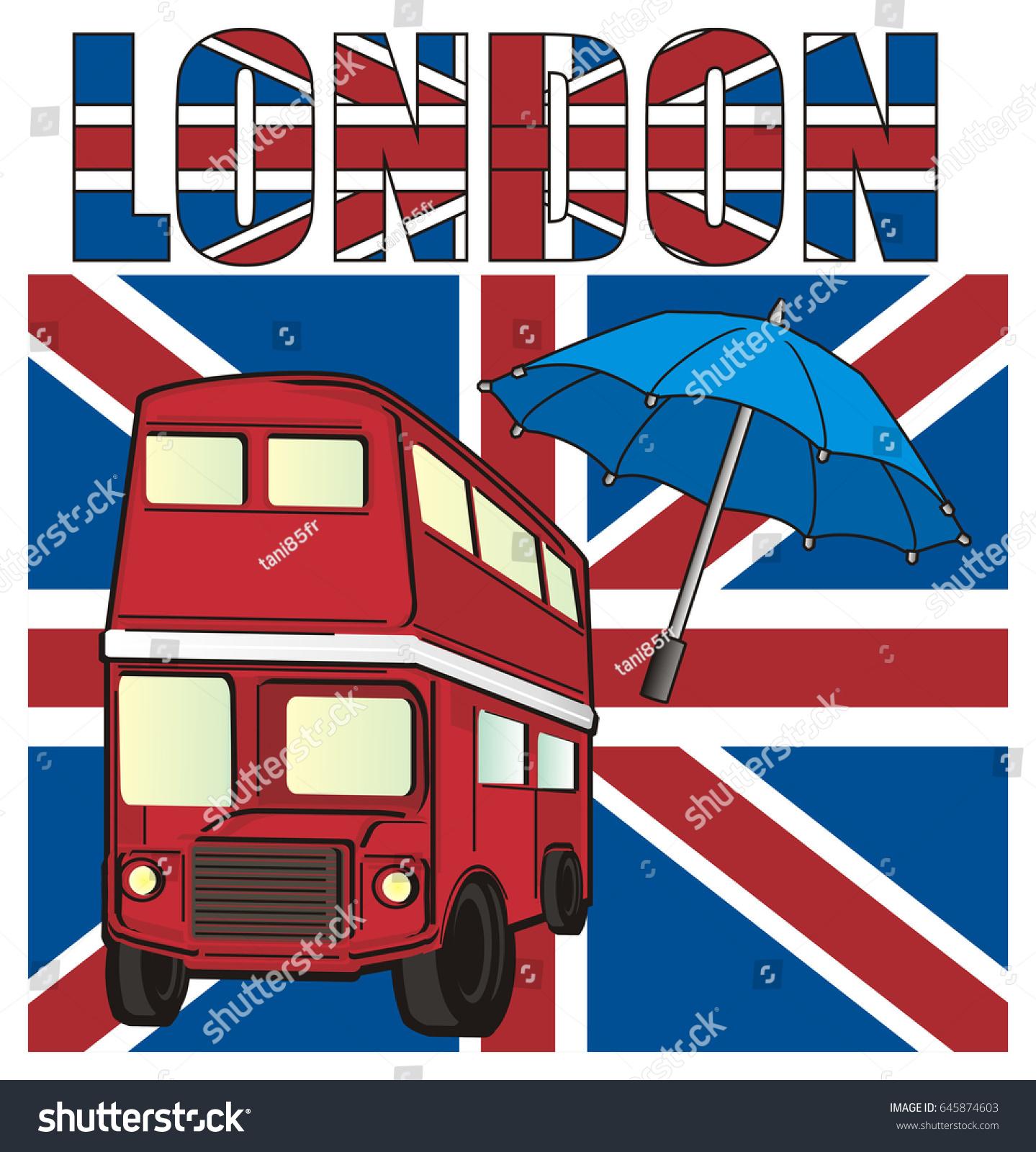 Large Uk Flag Two Symbols London Stock Illustration 645874603