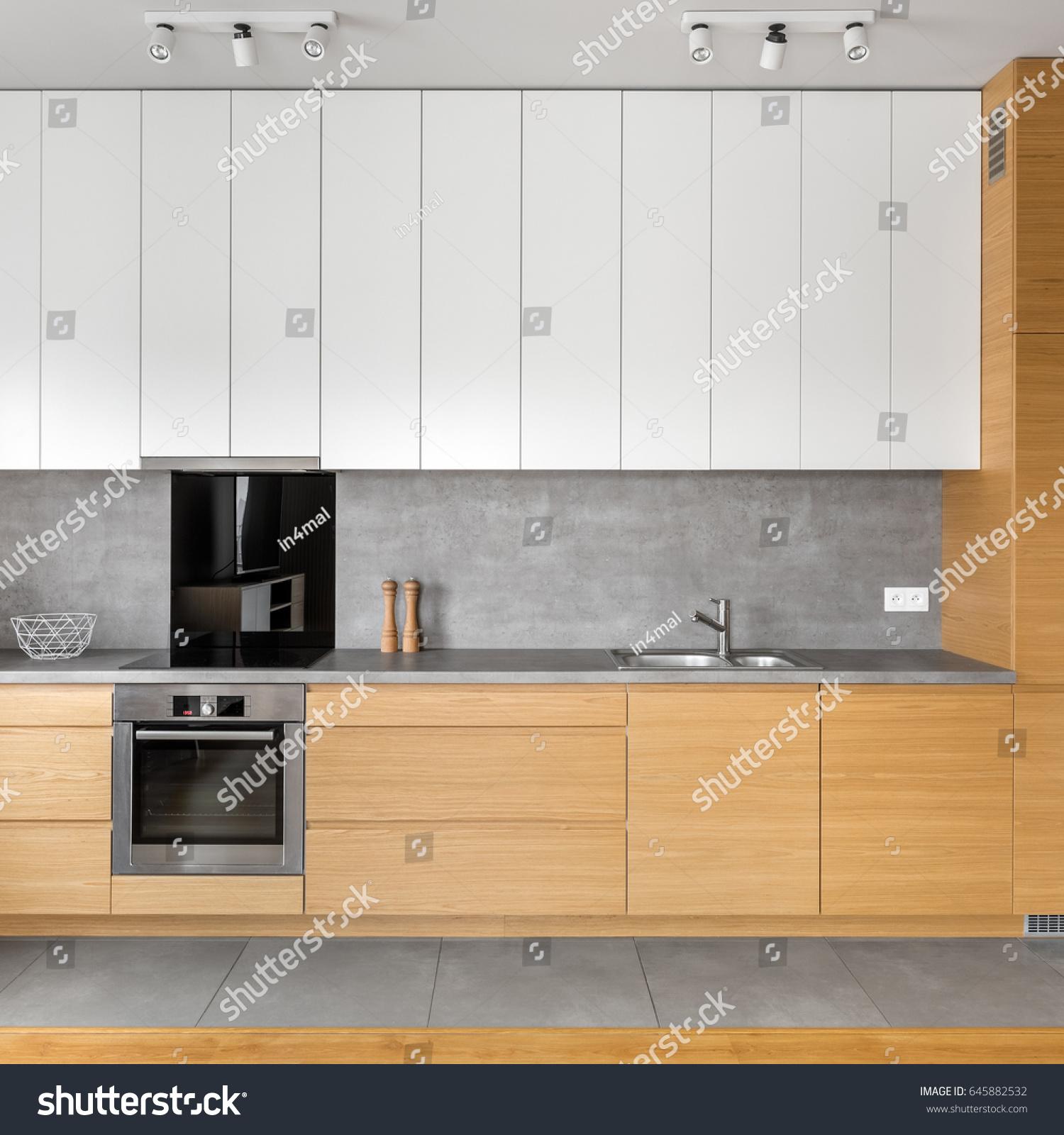 modern kitchen grey tiling wooden white stock photo royalty free
