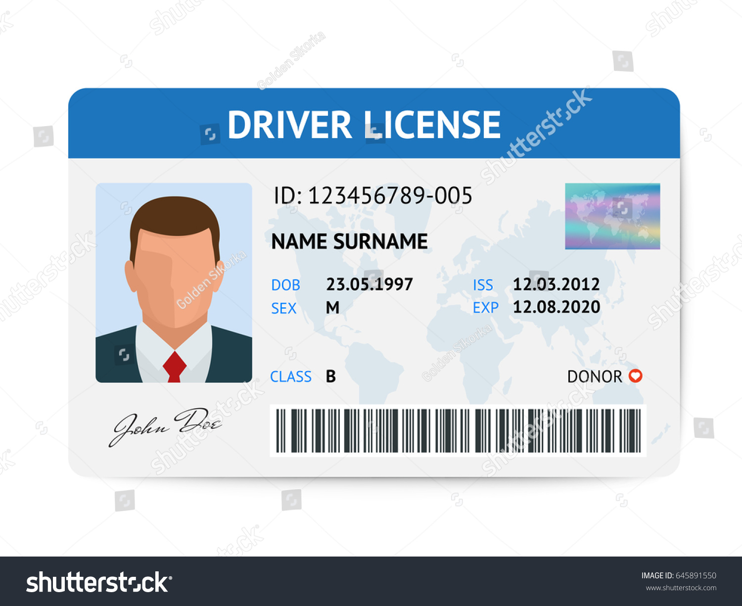 Flat Man Driver License Plastic Card Stock Vector 645891550 ...