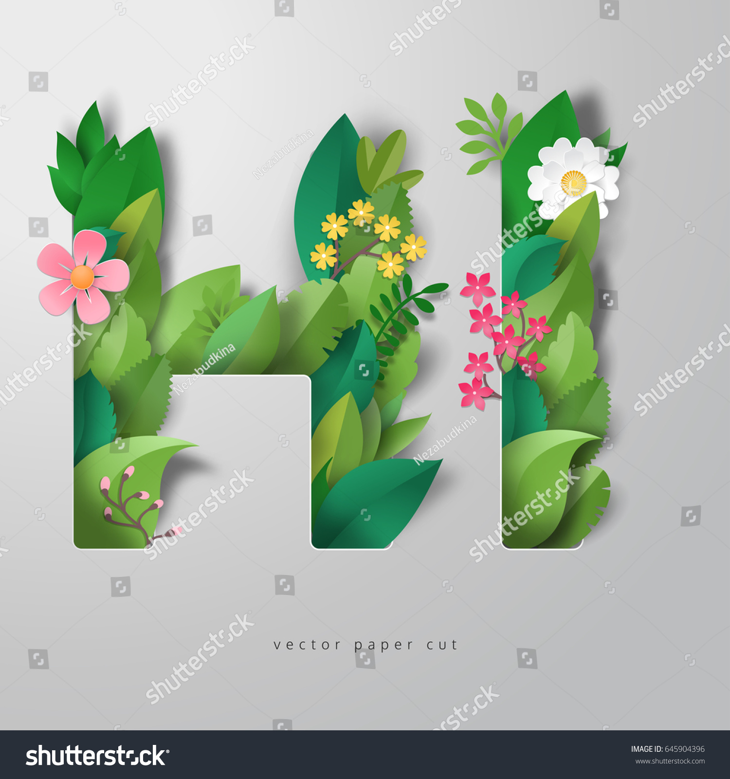 3 D Vector Illustration Paper Leaves Flowers Stock Vector Royalty