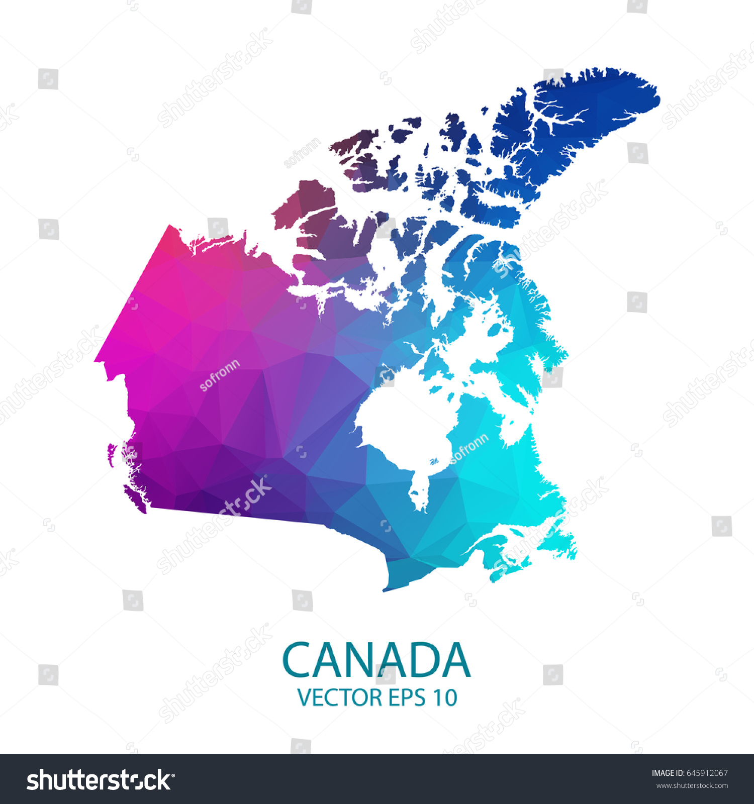 Map Of Canada Eps.Low Poly Map Canada Colorful Polygonal Stock Vector Royalty Free