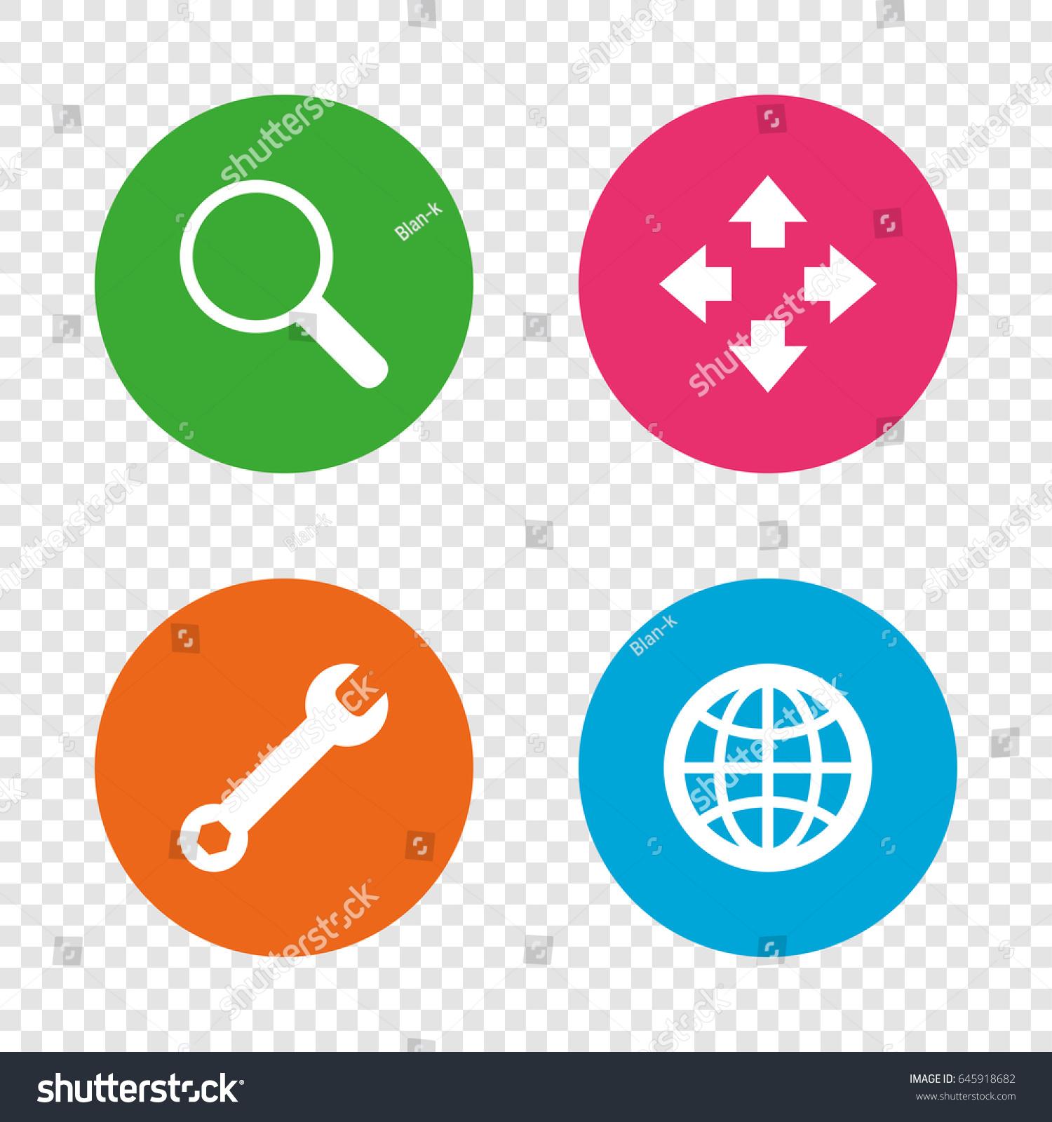 Magnifier Glass Globe Search Icons Fullscreen Stock Photo Photo