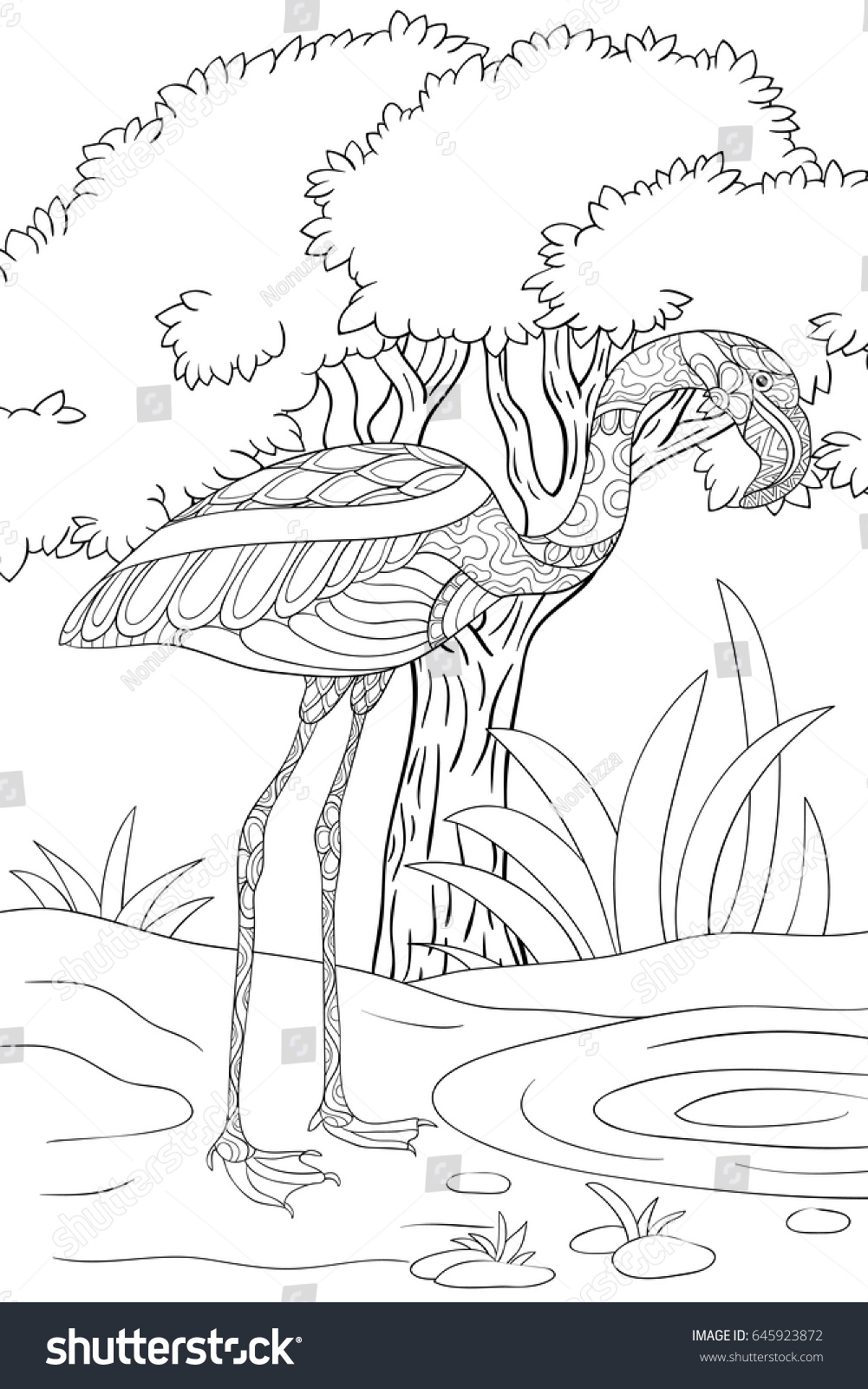 Coloring sheets for adults flamingo - Adult Coloring Page Book Flamingo Zen Art Style Illustration