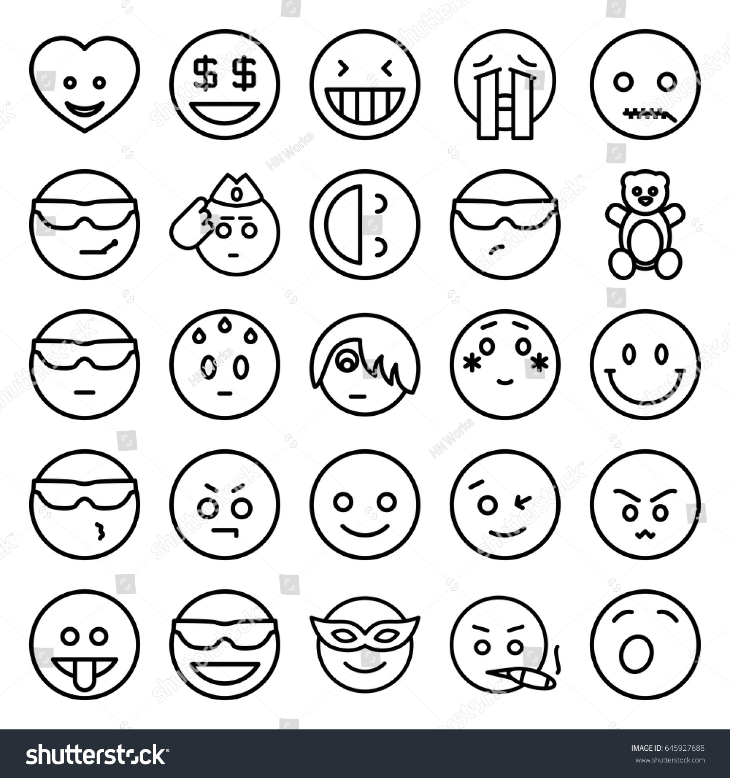 funny icons set set 25 funny stock vector 645927688 shutterstock