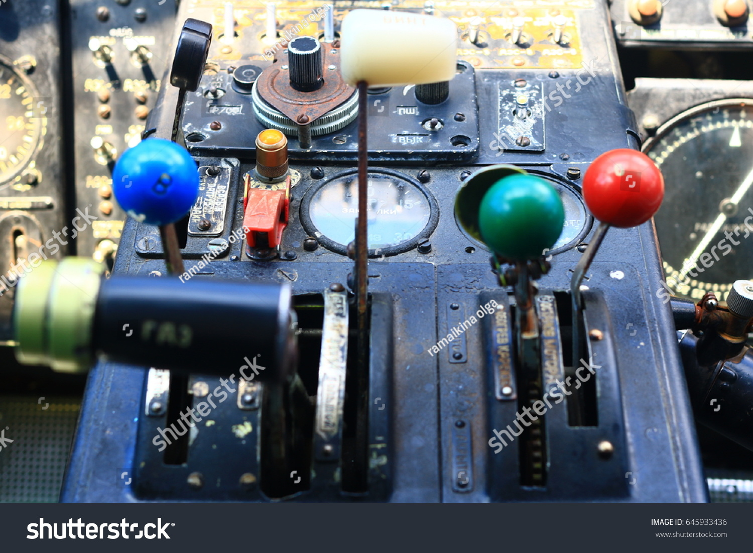 Control Levers Cockpit Old Aircraft Stock Photo (Download Now ...