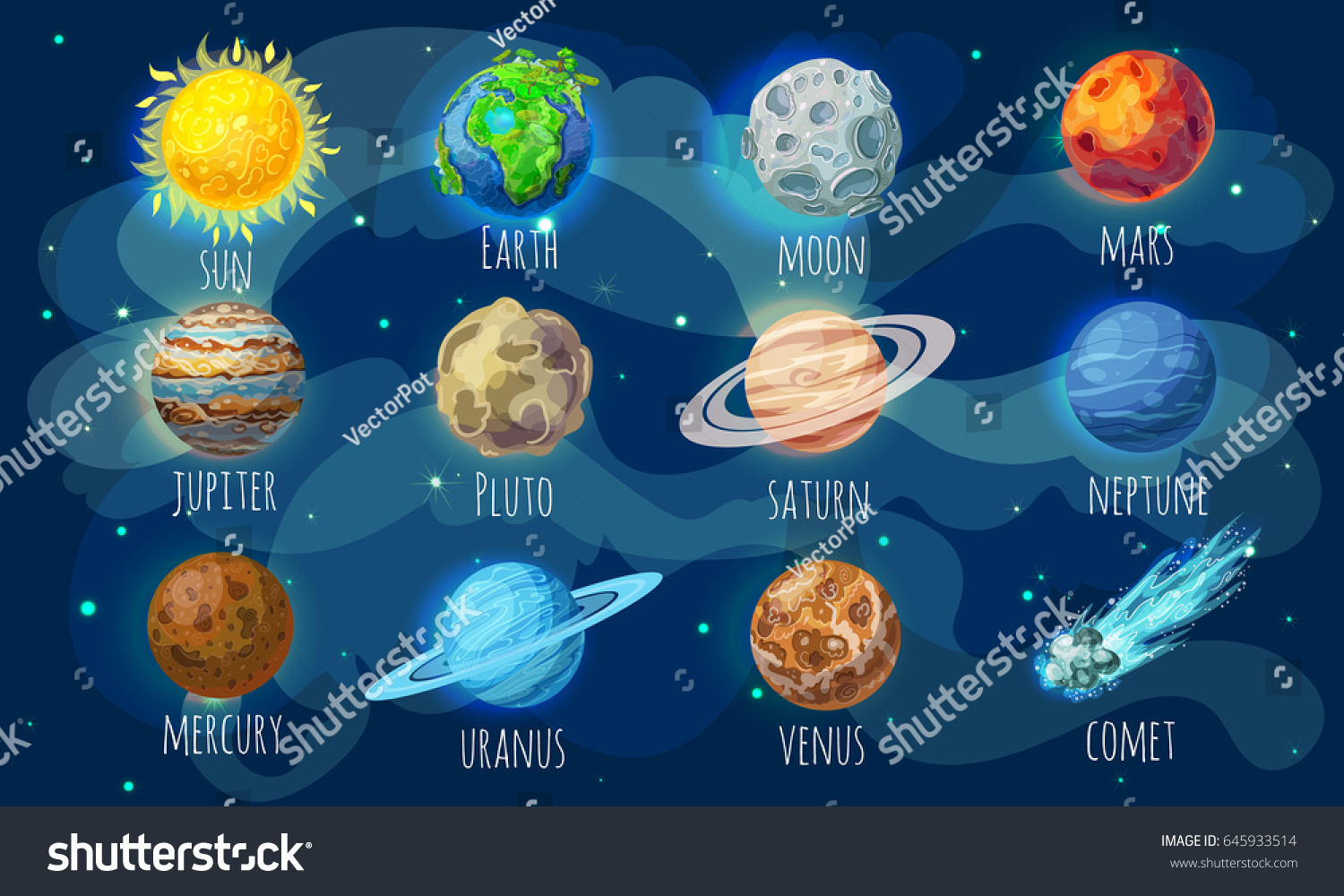 Colorful space elements set with sun comet and solar system planets in cartoon style isolated vector illustration #645933514