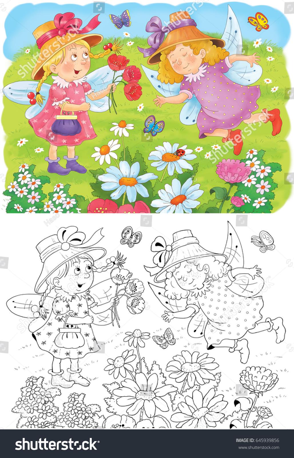 Fairy Tale Two Cute Fairies Among Stock Illustration 645939856 ...