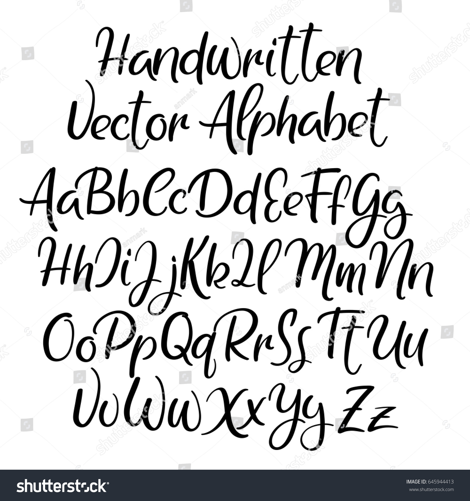 Modern calligraphy font handwritten brush letters stock