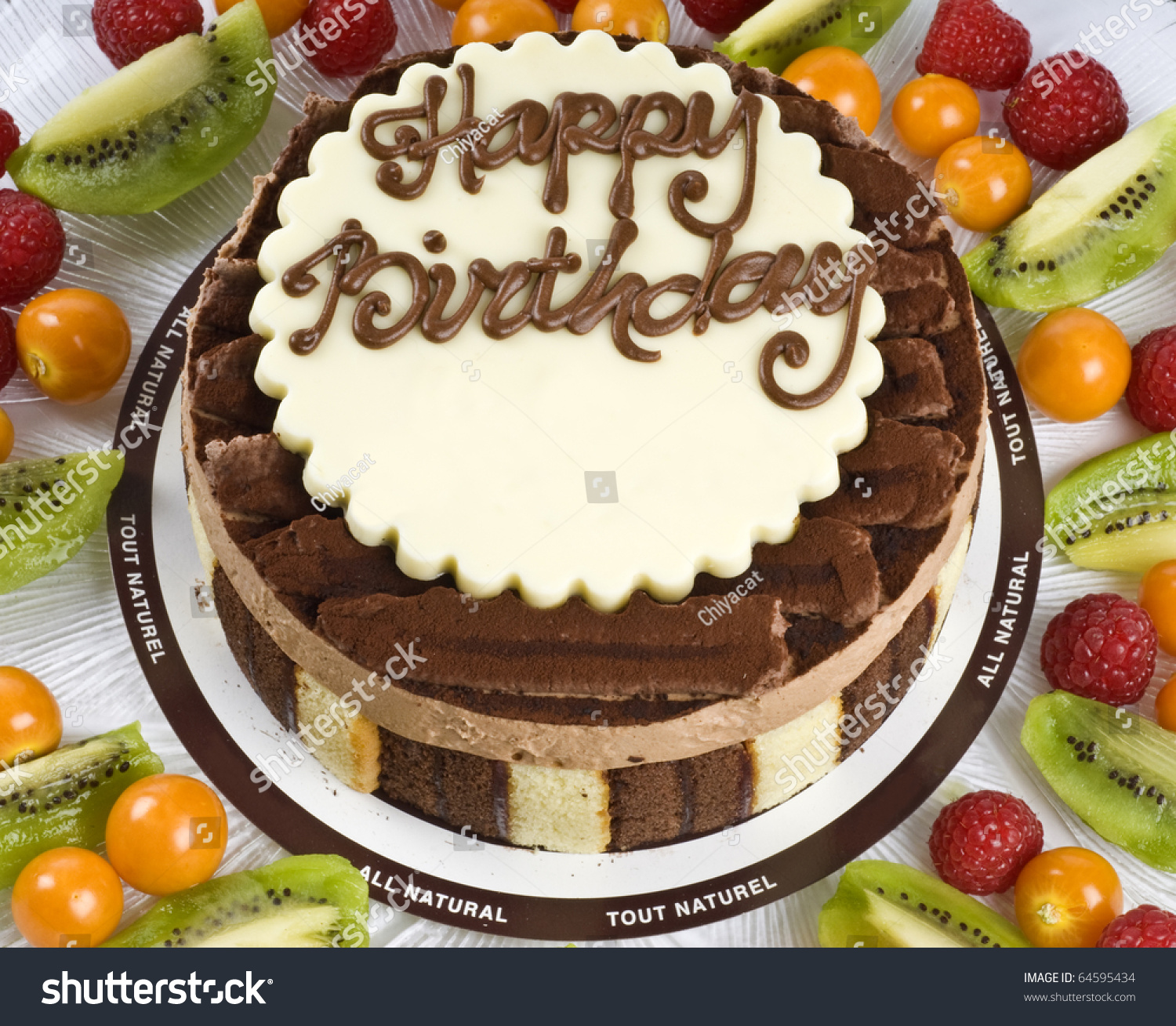 Triple Chocolate Mousse Birthday Cake Fruits Stock Photo Edit Now