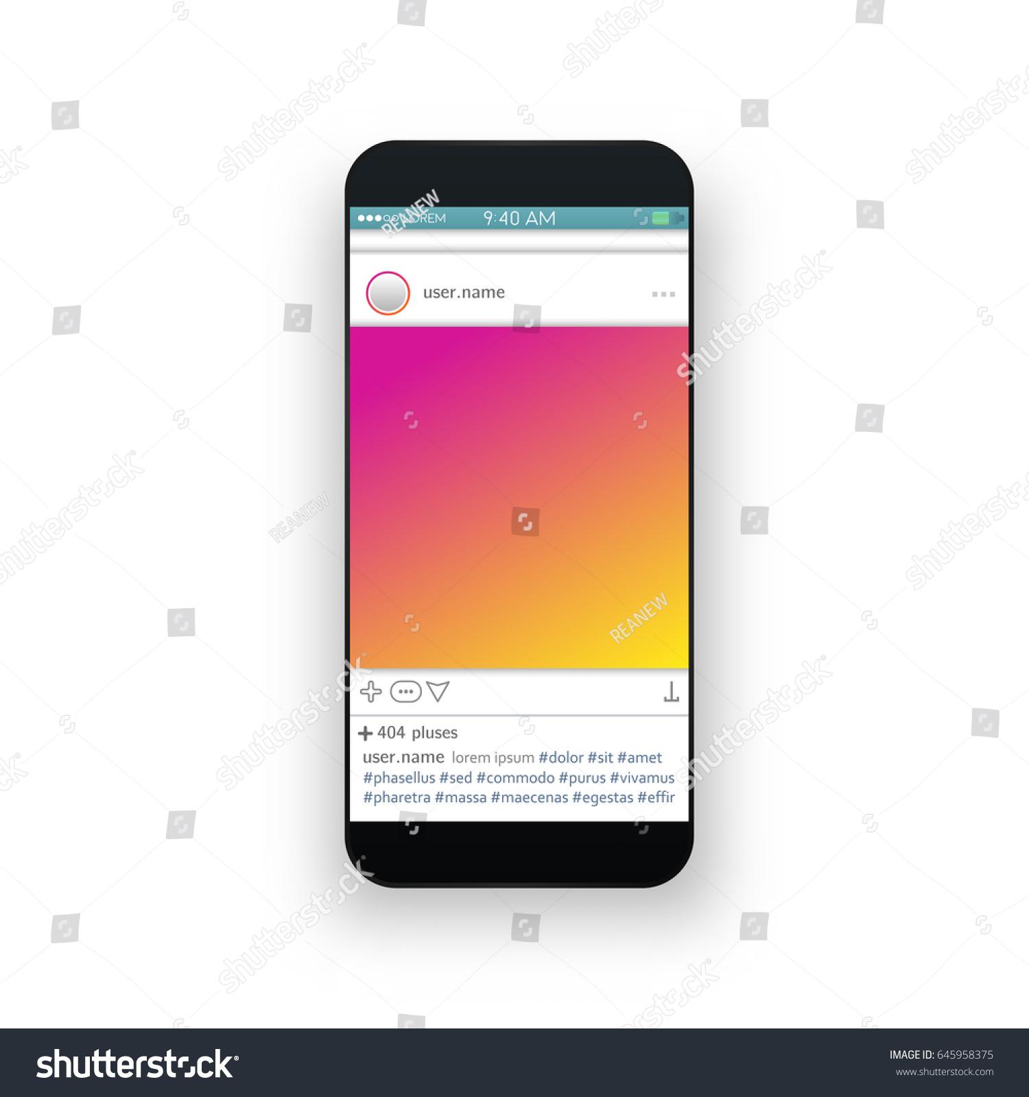 Vector Illustration Instagram: Social Network Instagram Photo Frame Vector Stock Vector